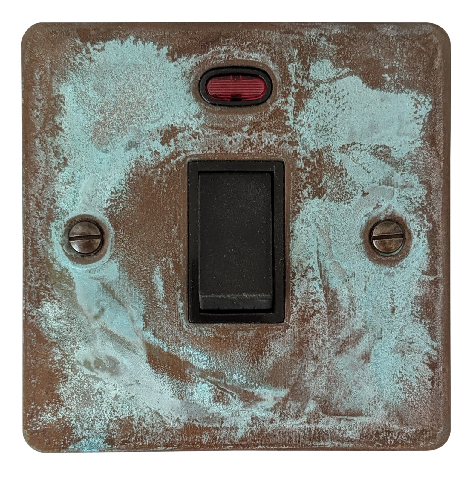 G&H FV26B Flat Plate Verdigris 1 Gang 20 Amp Double Pole Switch & Neon