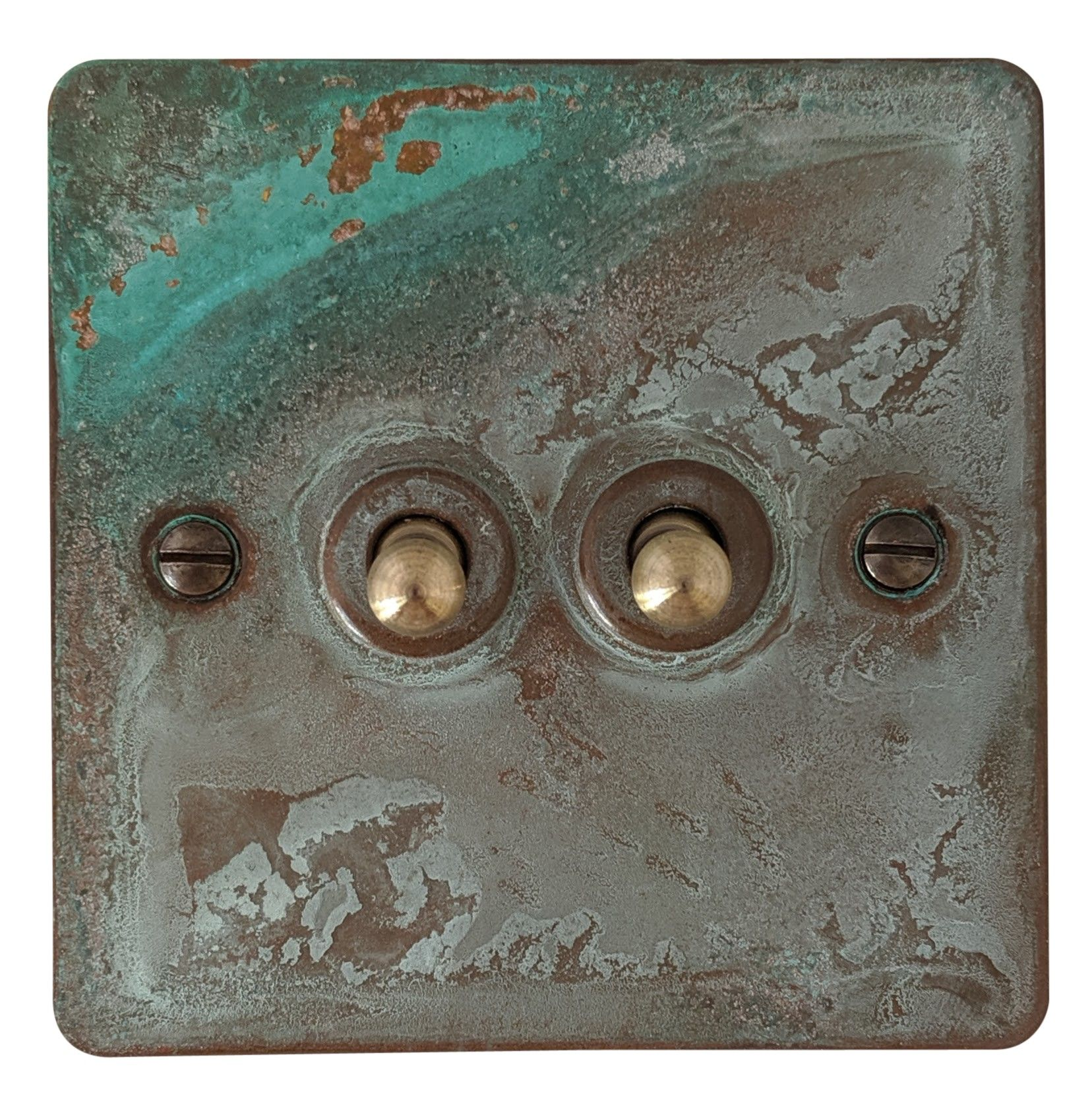 G&H FV282 Flat Plate Verdigris 2 Gang 1 or 2 Way Toggle Light Switch