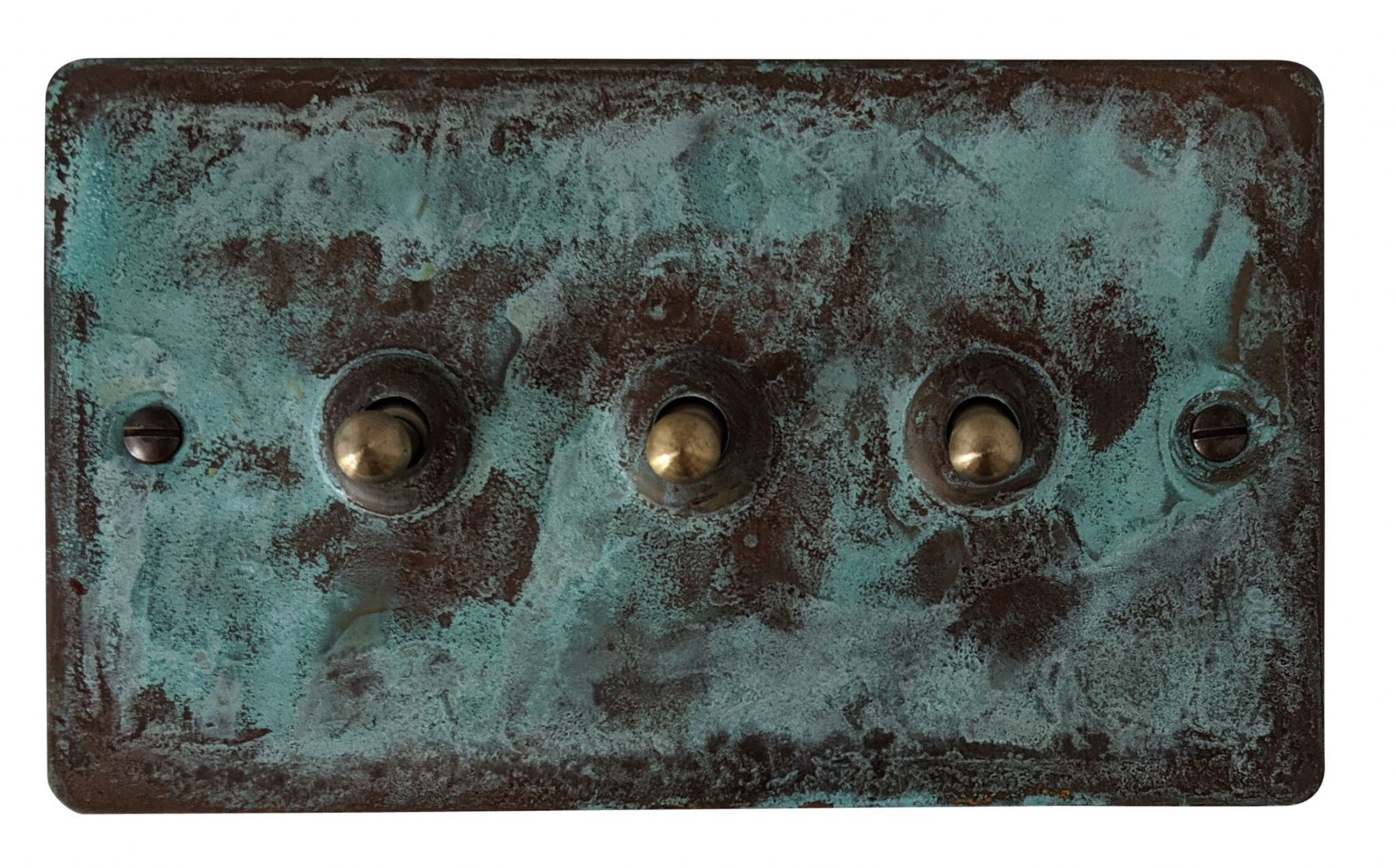 G&H FV283 Flat Plate Verdigris 3 Gang 1 or 2 Way Toggle Light Switch