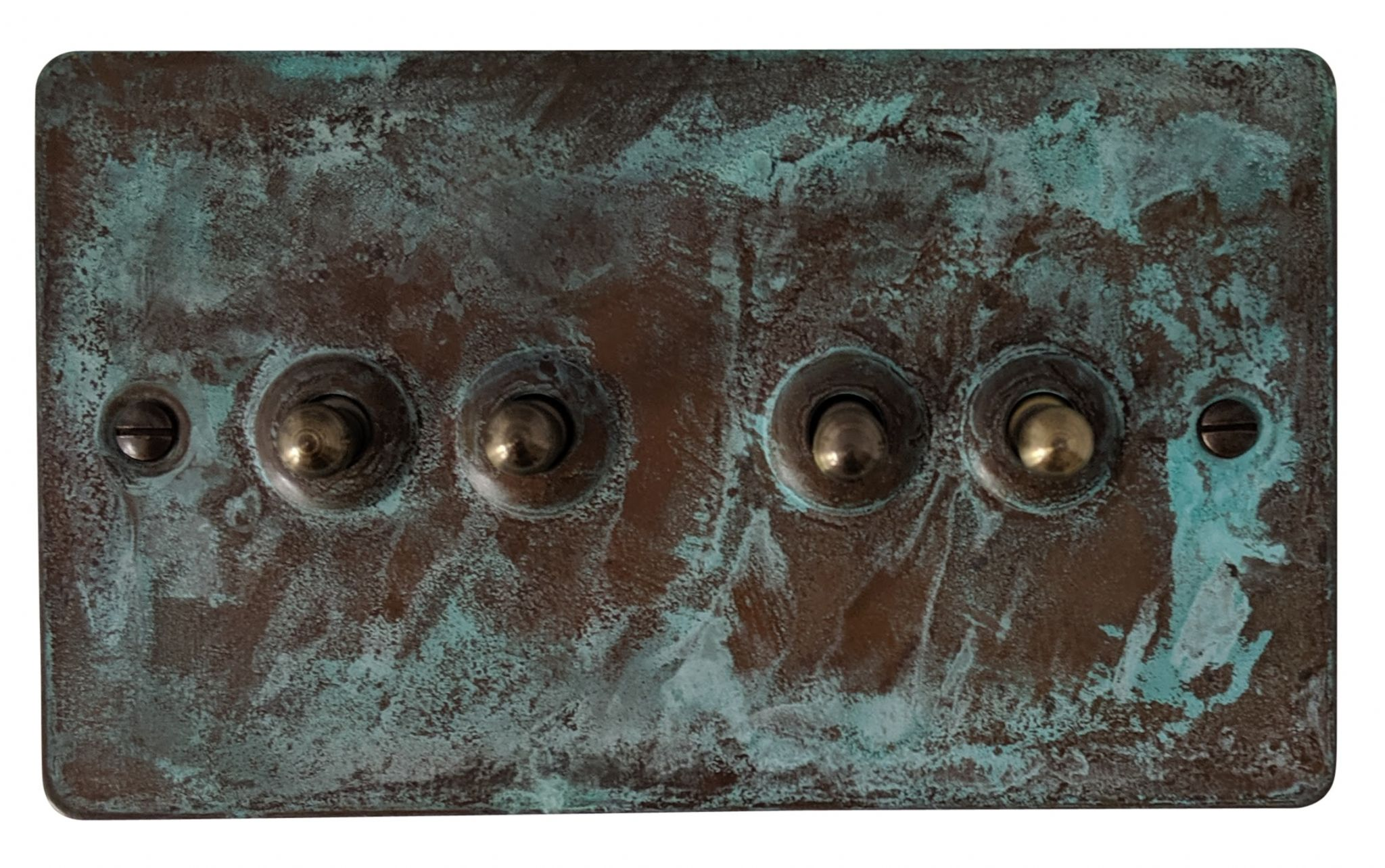 G&H FV284 Flat Plate Verdigris 4 Gang 1 or 2 Way Toggle Light Switch