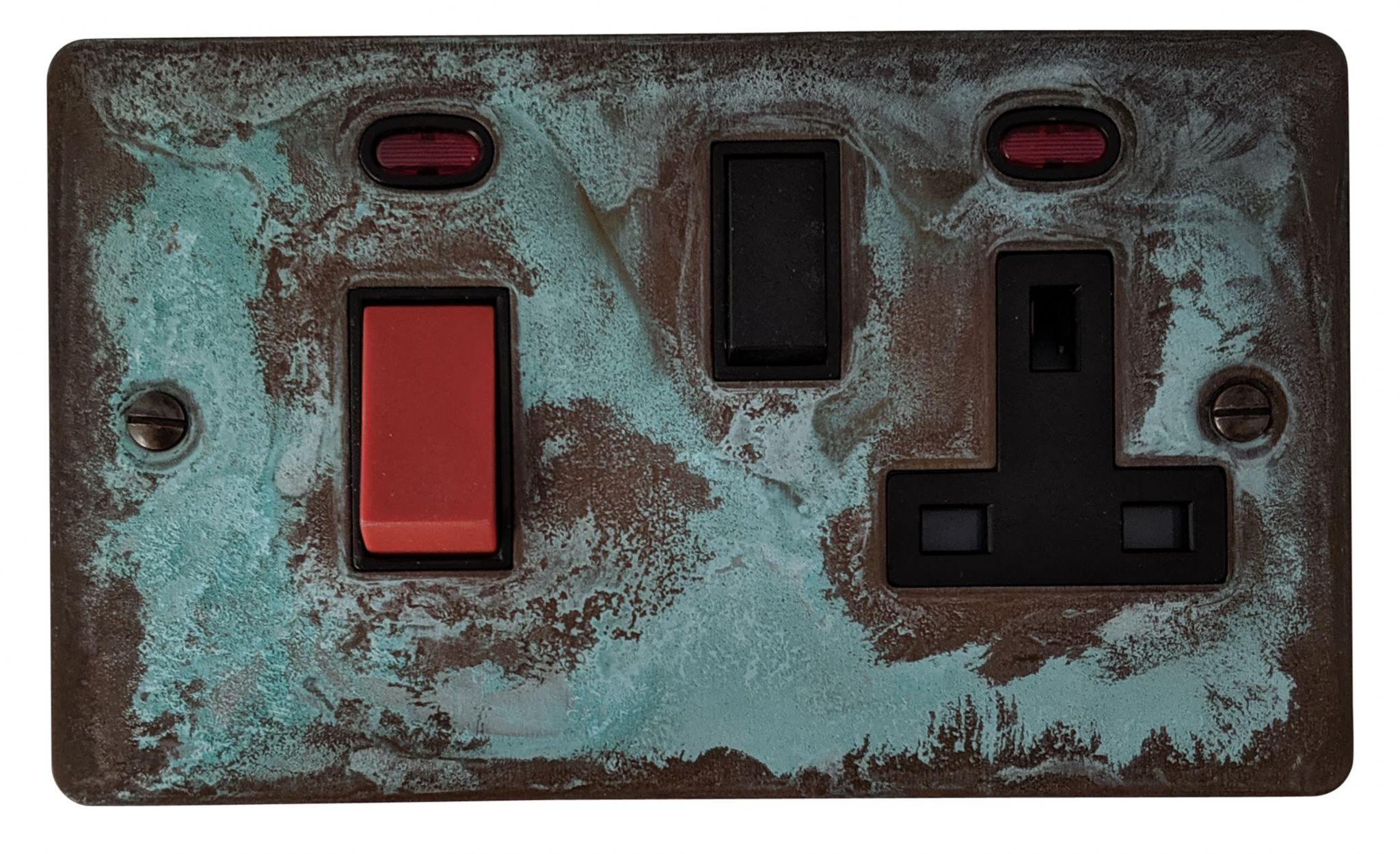 G&H FV29B Flat Plate Verdigris 45 Amp DP Cooker Switch & 13A Switched Socket