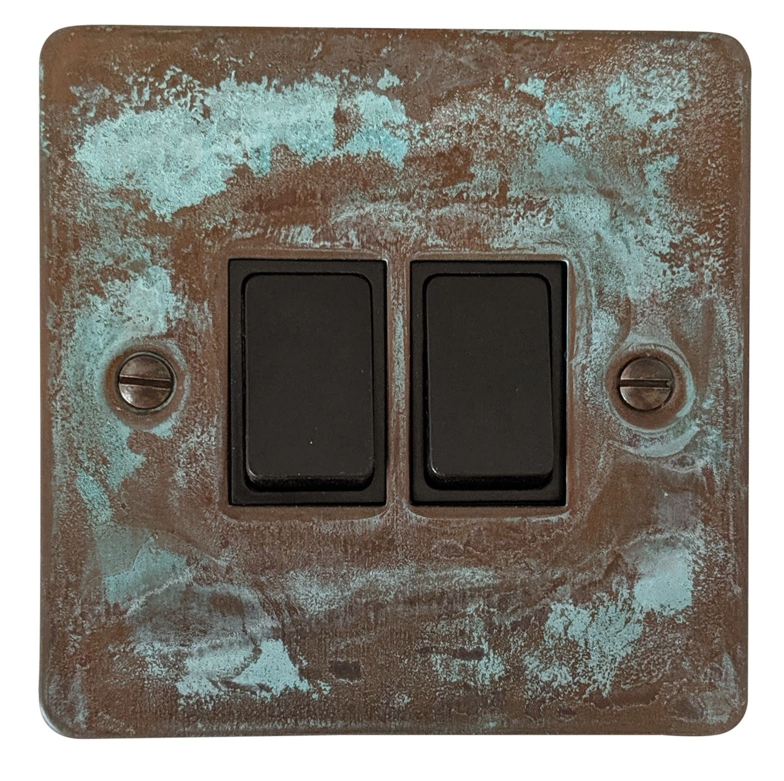 G&H FV2B Flat Plate Verdigris 2 Gang 1 or 2 Way Rocker Light Switch