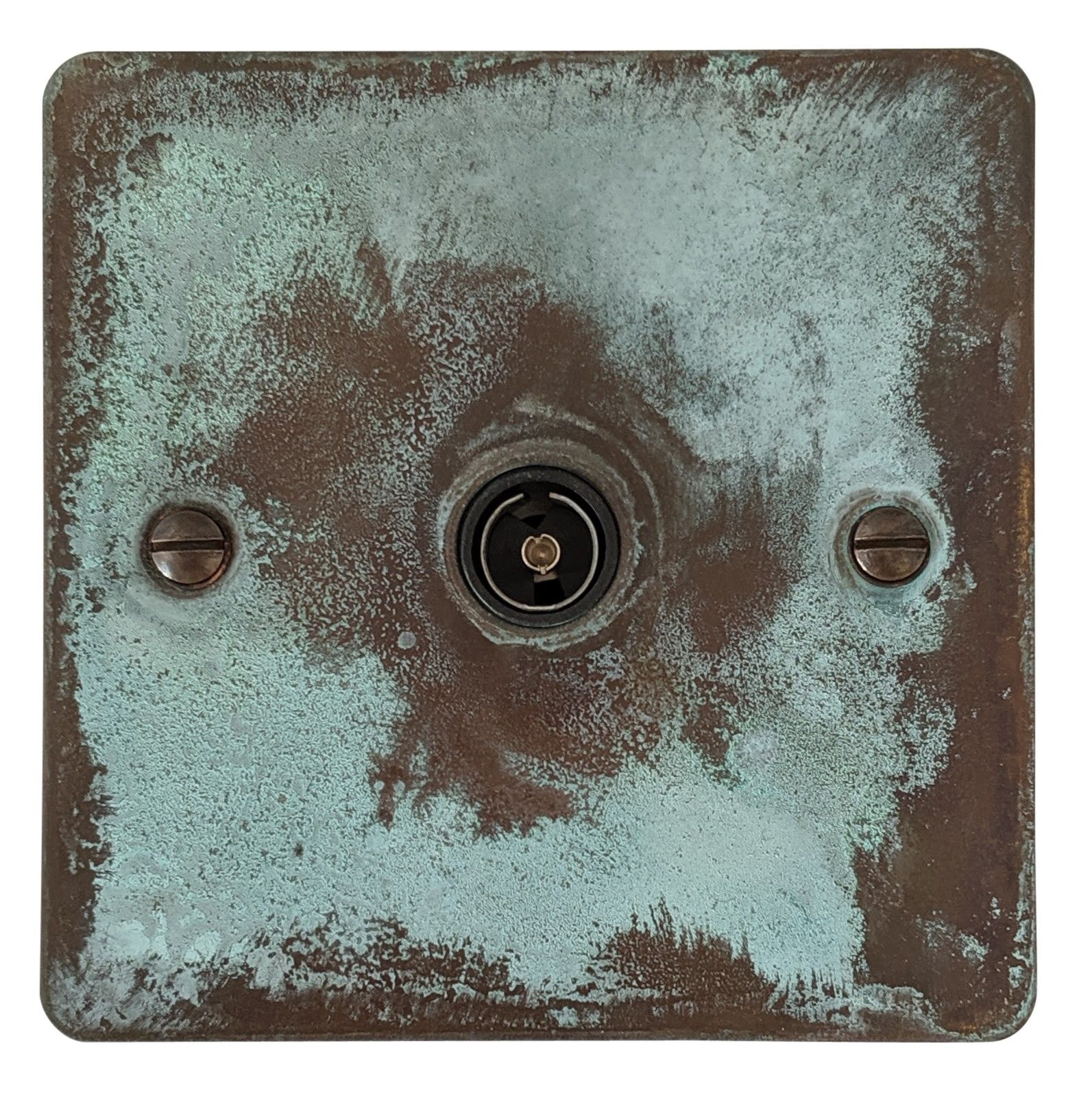 G&H FV35B Flat Plate Verdigris 1 Gang TV Coax Socket Point