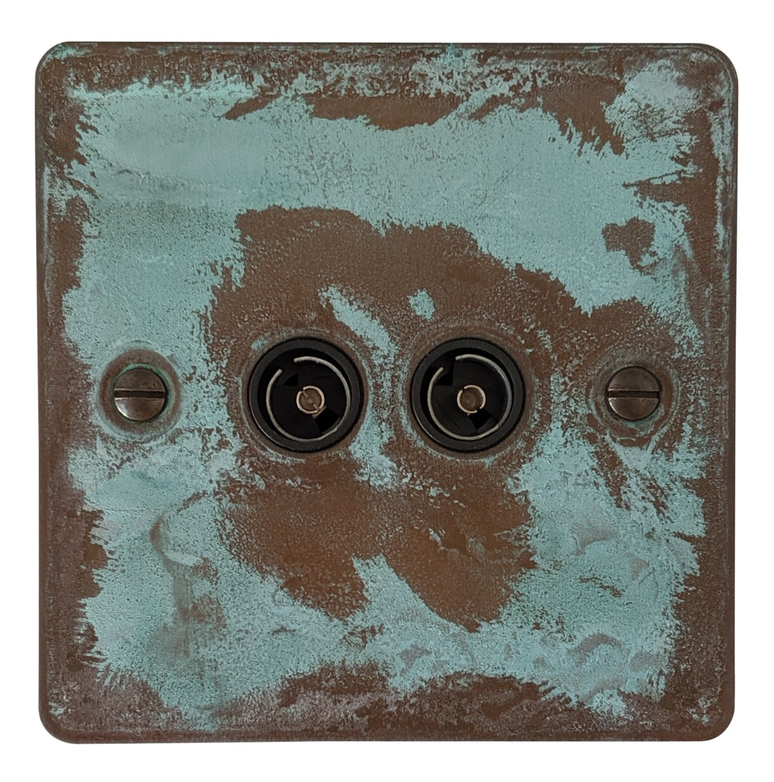 G&H FV36B Flat Plate Verdigris 2 Gang TV Coax Socket Point