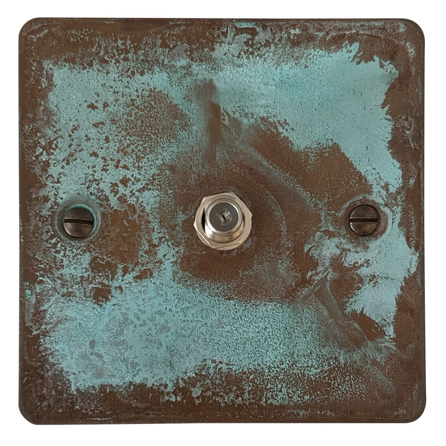 G&H FV37 Flat Plate Verdigris 1 Gang Single Satellite Point Socket