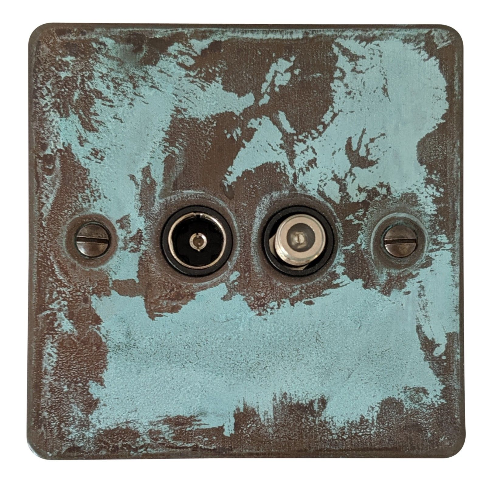 G&H FV38B Flat Plate Verdigris 1 Gang TV Coax & Satellite Socket Point