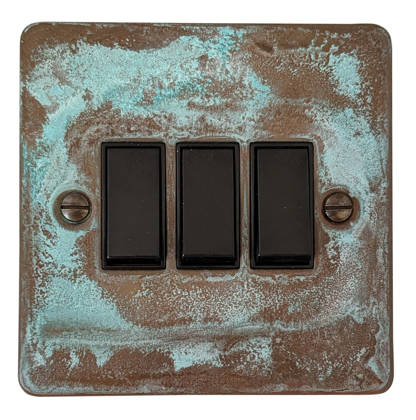 G&H FV3B Flat Plate Verdigris 3 Gang 1 or 2 Way Rocker Light Switch