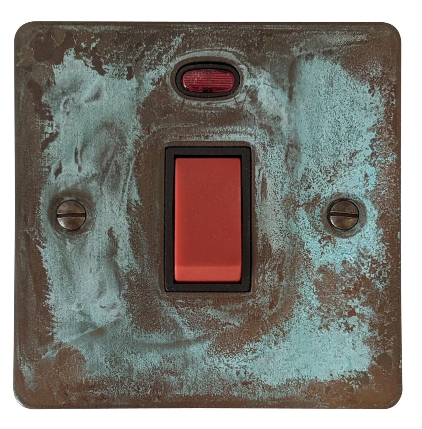 G&H FV46B Flat Plate Verdigris 45 Amp DP Cooker Switch & Neon Single Plate