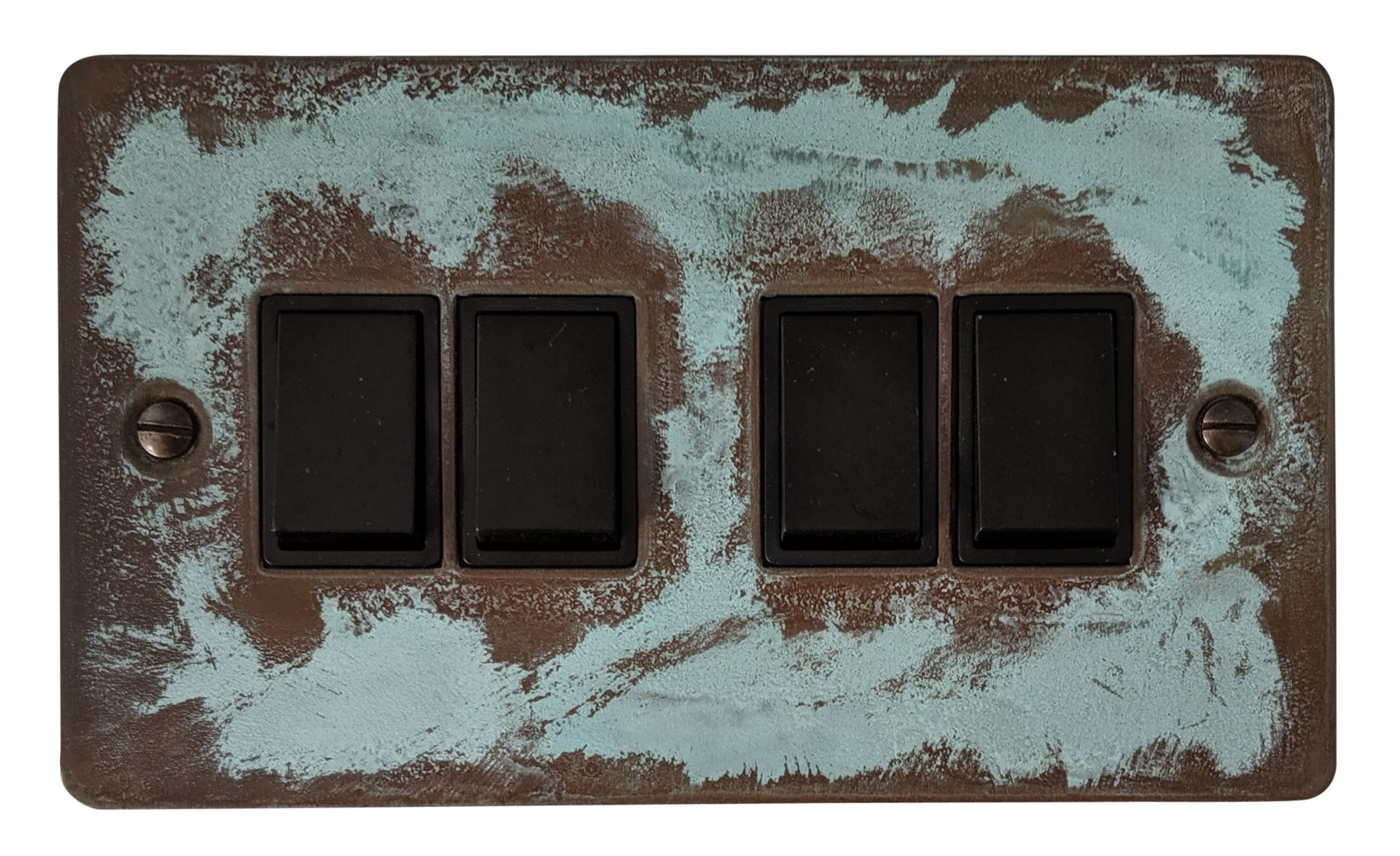 G&H FV4B Flat Plate Verdigris 4 Gang 1 or 2 Way Rocker Light Switch