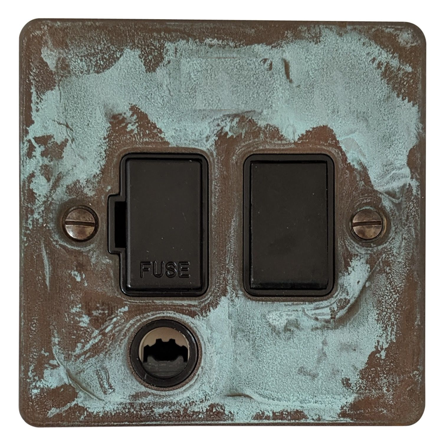 G&H FV56B Flat Plate Verdigris 1 Gang Fused Spur 13A Switched & Flex Outlet