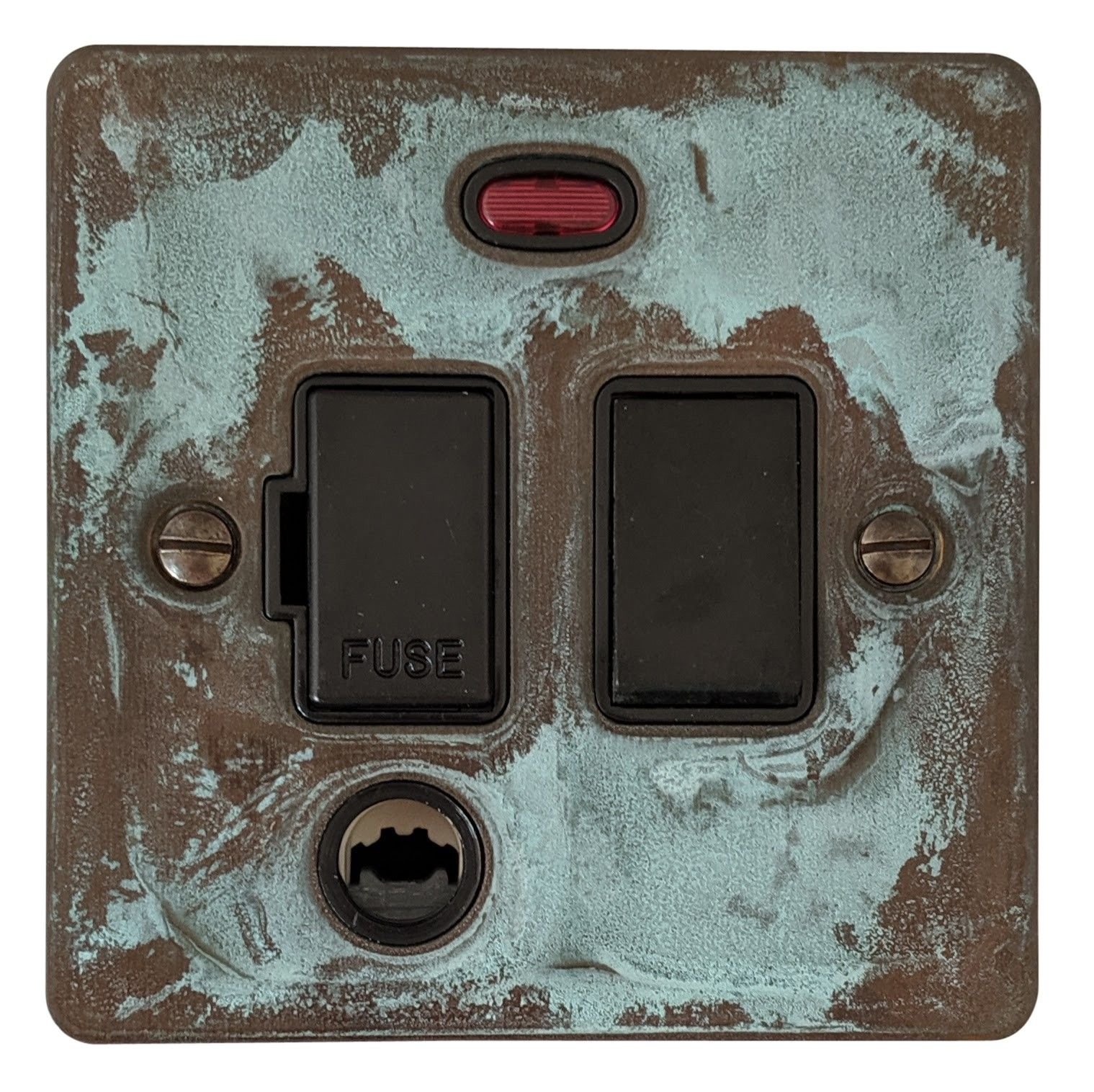 G&H FV77B Flat Plate Verdigris 1 Gang Fused Spur 13A Switched & Flex Outlet & Neon
