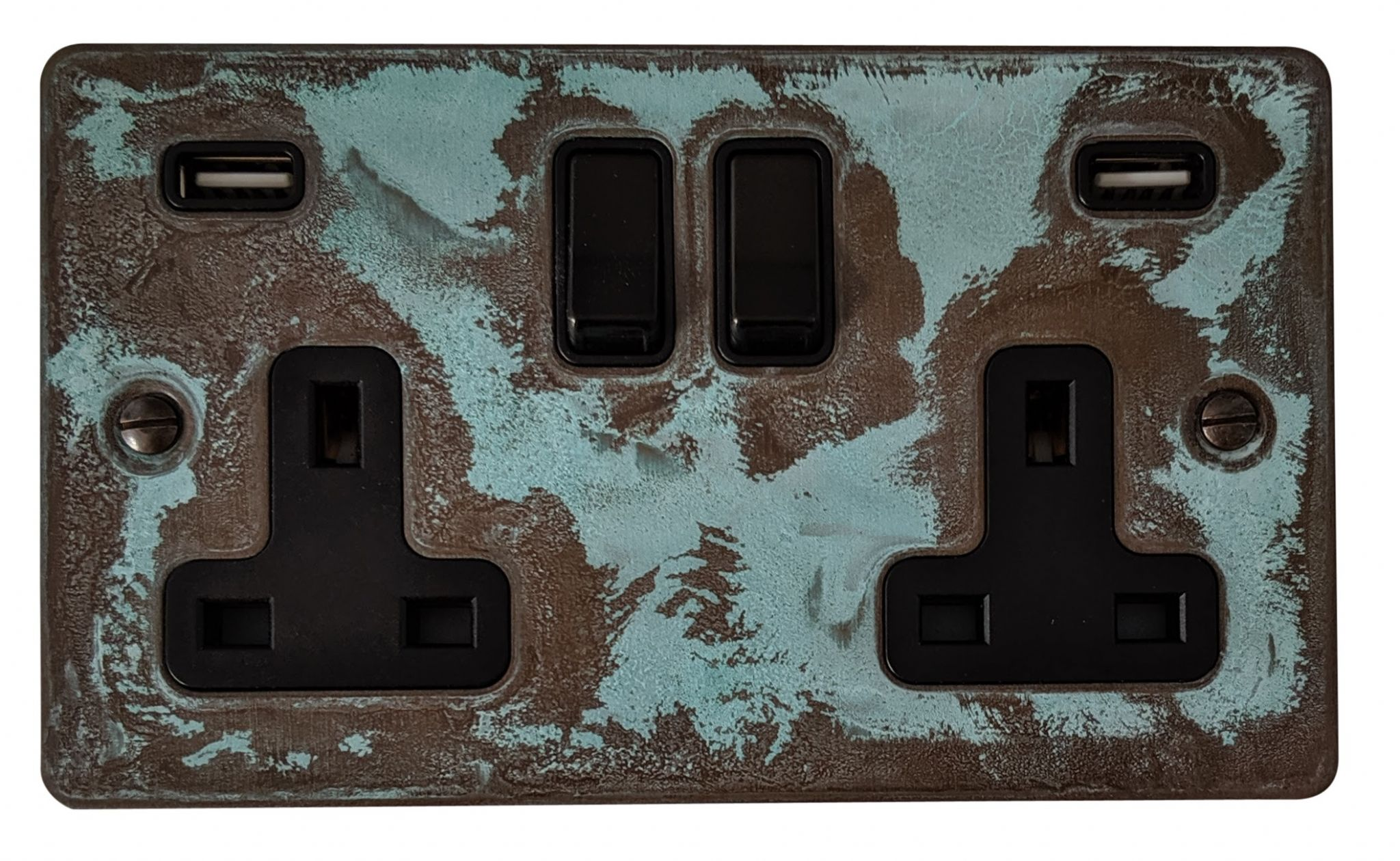 G&H FV910B Flat Plate Verdigris 2 Gang Double 13A Switched Plug Socket 2.1A USB