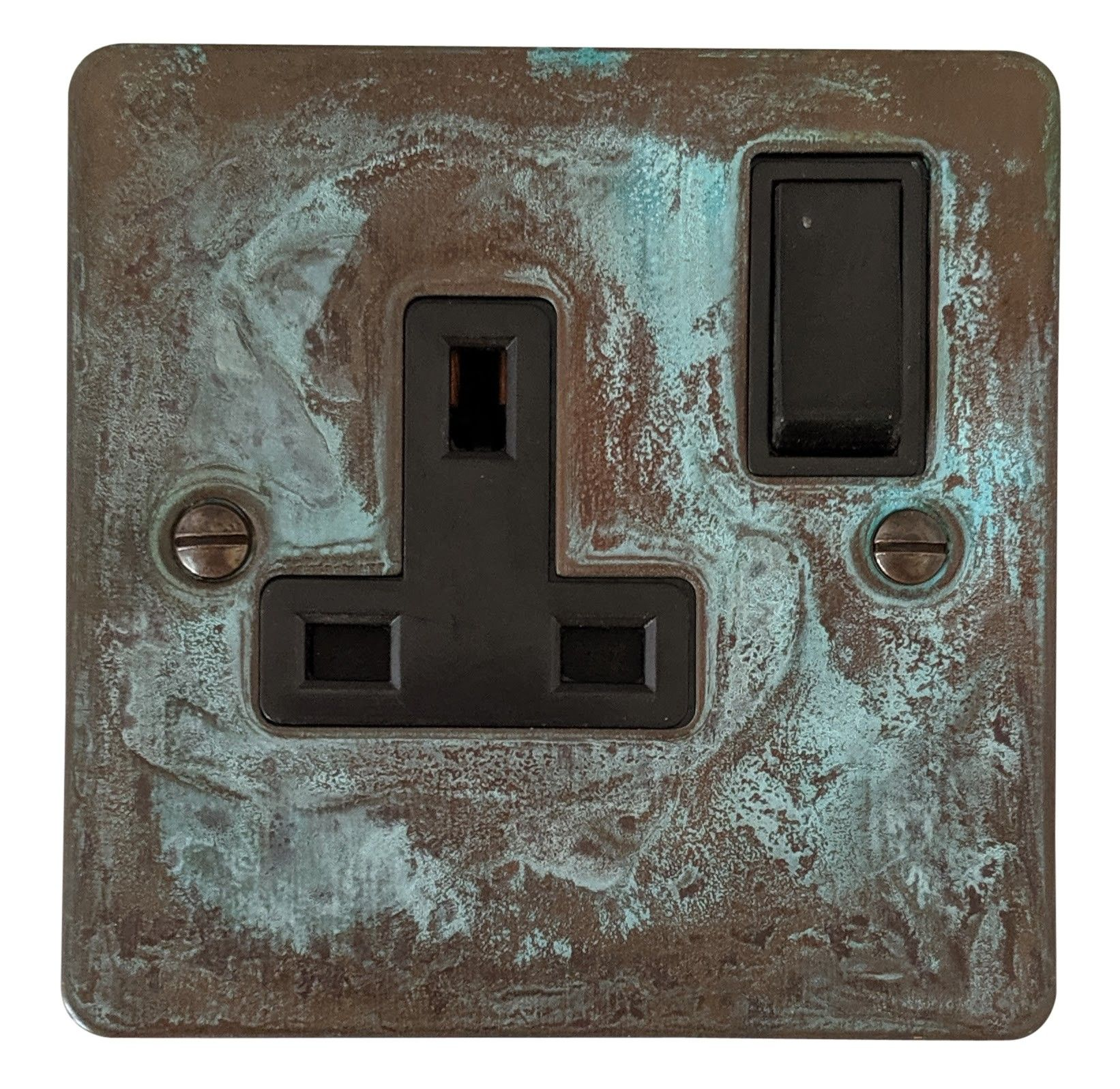 G&H FV9B Flat Plate Verdigris 1 Gang Single 13A Switched Plug Socket
