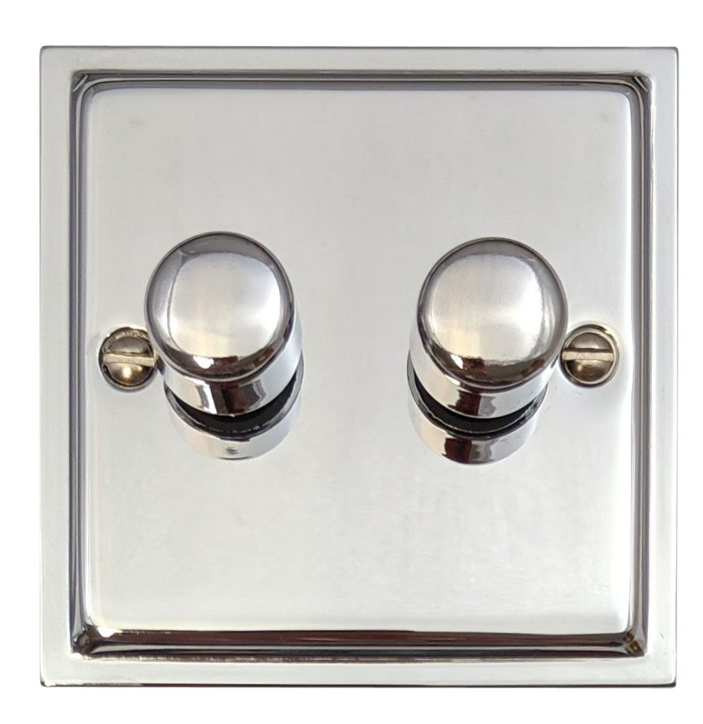 G&H HC12 Highline Plate Polished Chrome 2 Gang 1 or 2 Way 40-400W Dimmer Switch