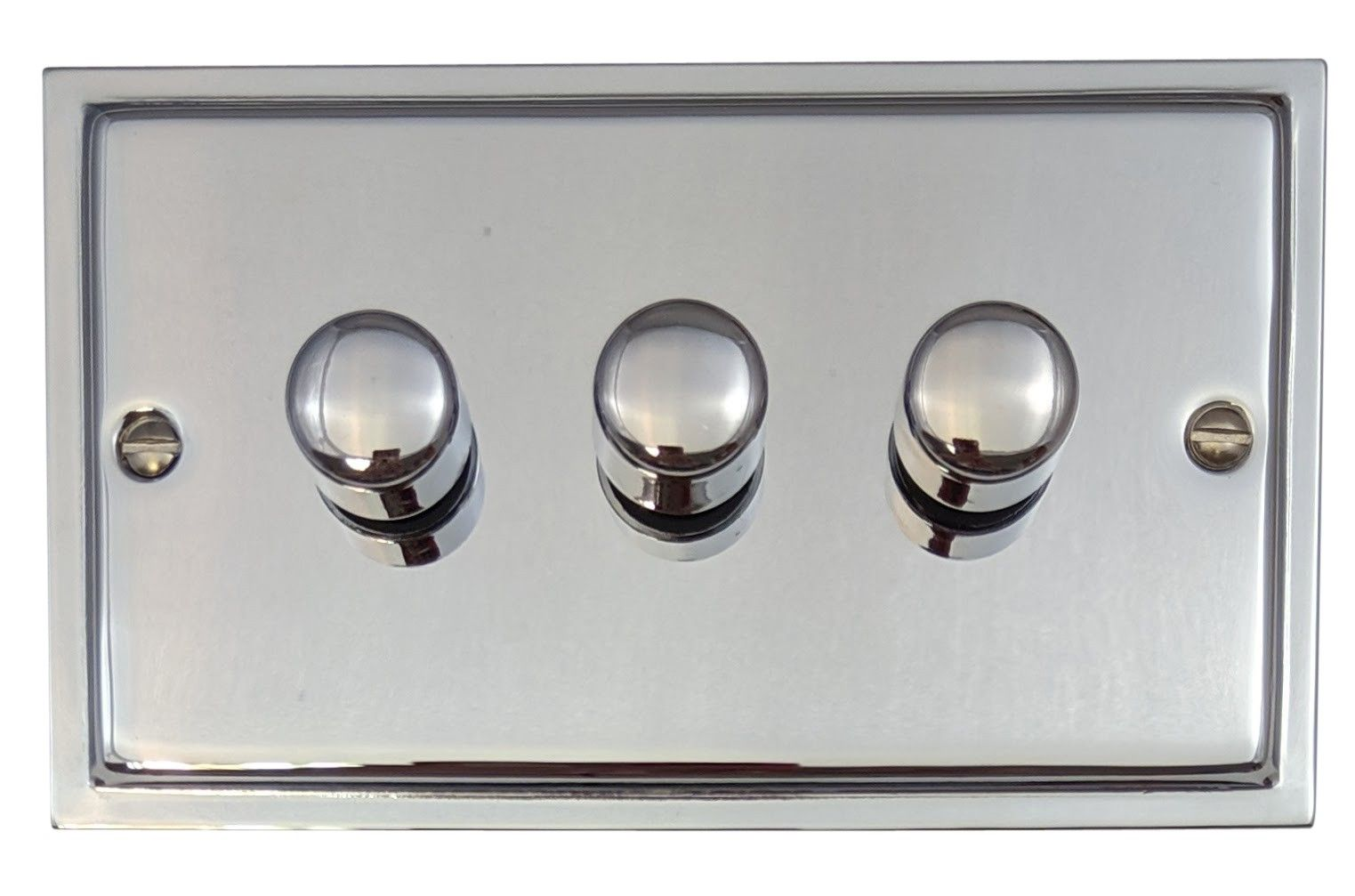 G&H HC13 Highline Plate Polished Chrome 3 Gang 1 or 2 Way 40-400W Dimmer Switch