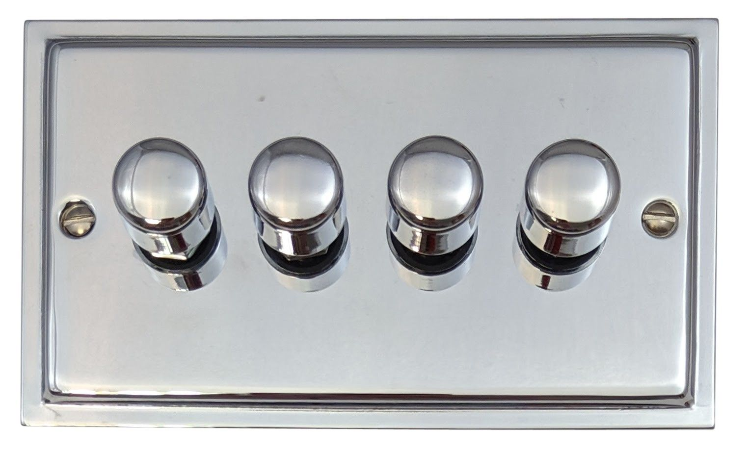 G&H HC14 Highline Plate Polished Chrome 4 Gang 1 or 2 Way 40-400W Dimmer Switch