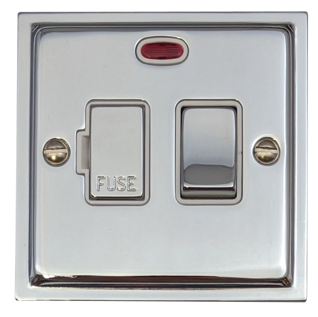 G&H HC227 Highline Plate Polished Chrome 1 Gang Fused Spur 13A Switched & Neon