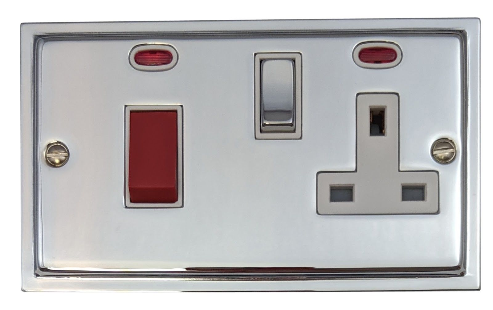 G&H HC229 Highline Plate Polished Chrome 45 Amp DP Cooker Switch & 13A Switched Socket