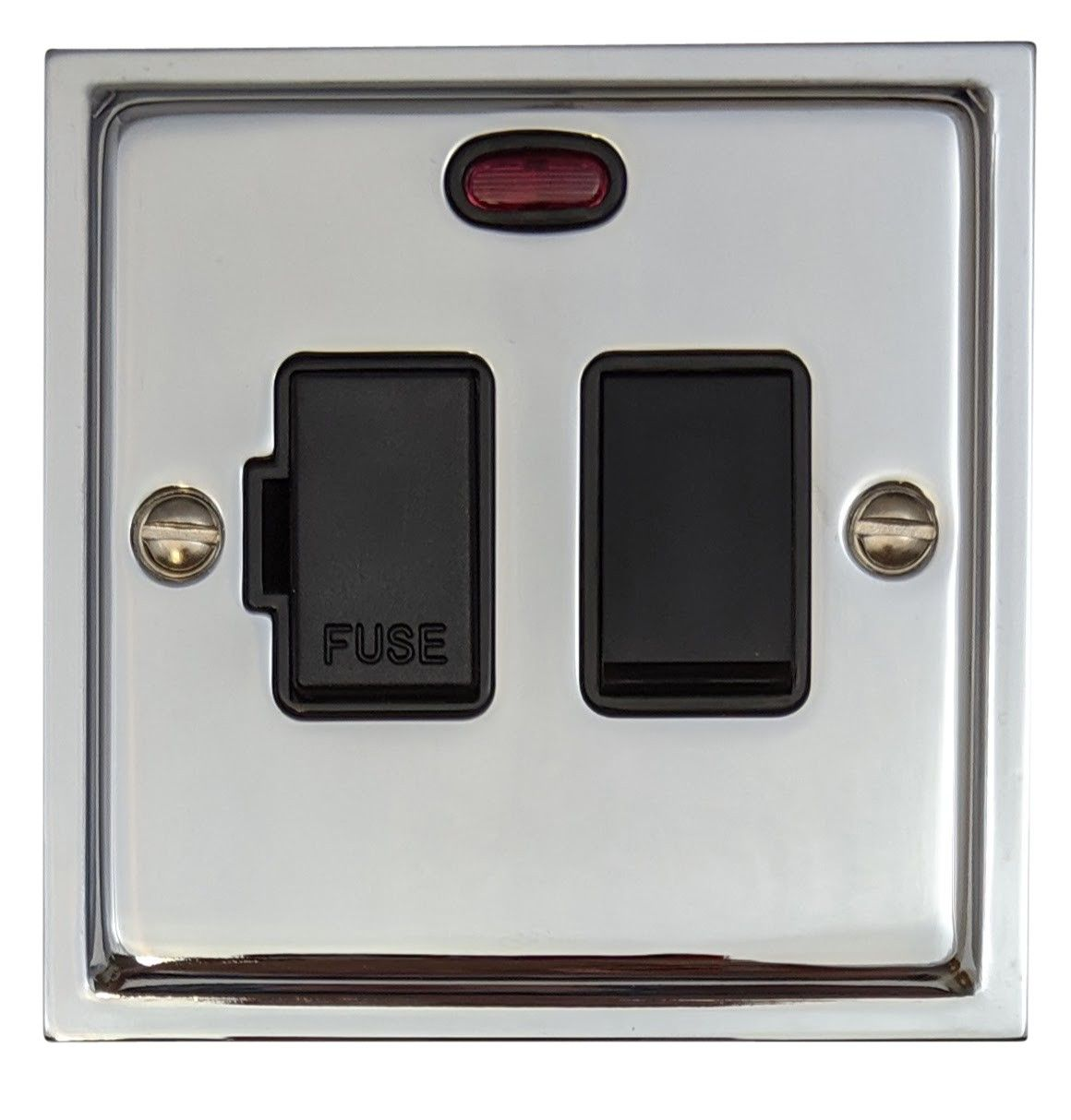 G&H HC27B Highline Plate Polished Chrome 1 Gang Fused Spur 13A Switched & Neon
