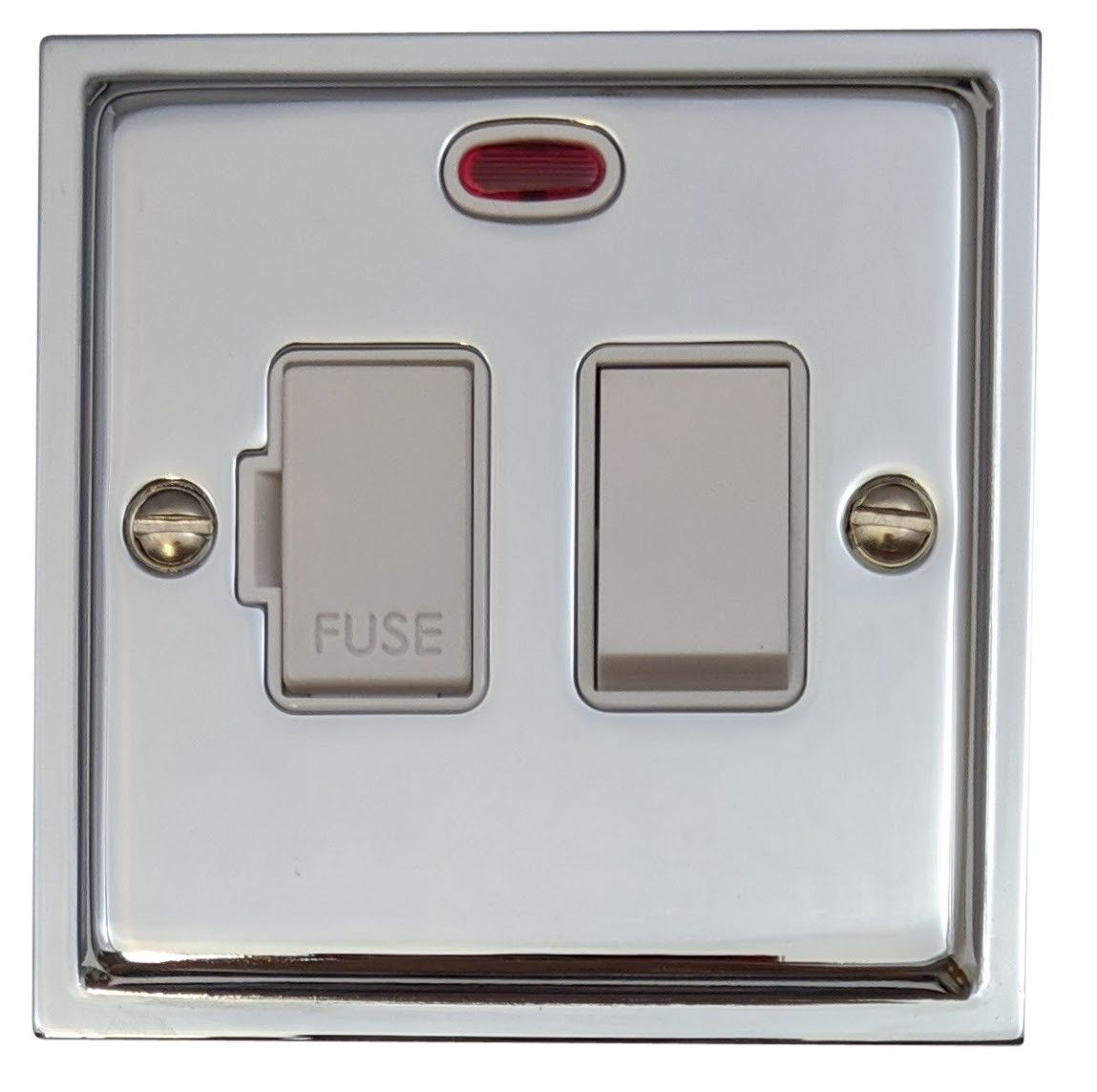 G&H HC27W Highline Plate Polished Chrome 1 Gang Fused Spur 13A Switched & Neon