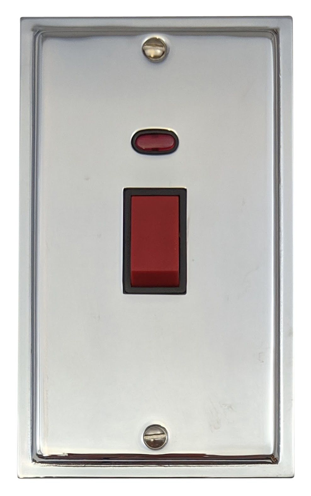 G&H HC28B Highline Plate Polished Chrome 45 Amp DP Cooker Switch & Neon Vertical Plate