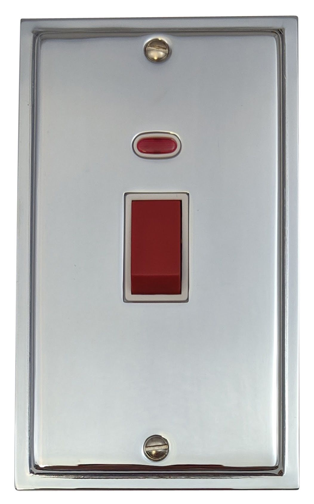G&H HC28W Highline Plate Polished Chrome 45 Amp DP Cooker Switch & Neon Vertical Plate