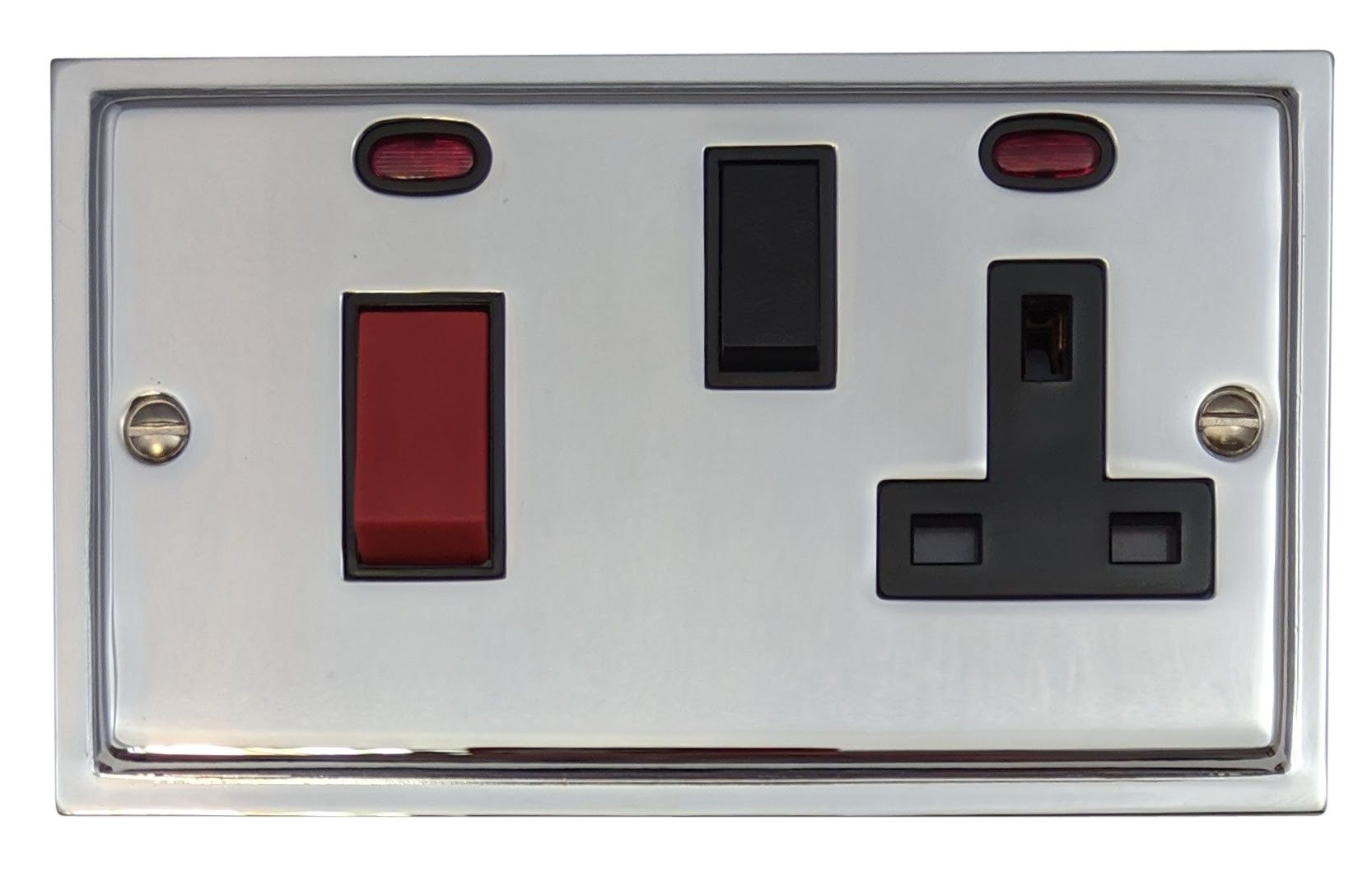 G&H HC29B Highline Plate Polished Chrome 45 Amp DP Cooker Switch & 13A Switched Socket