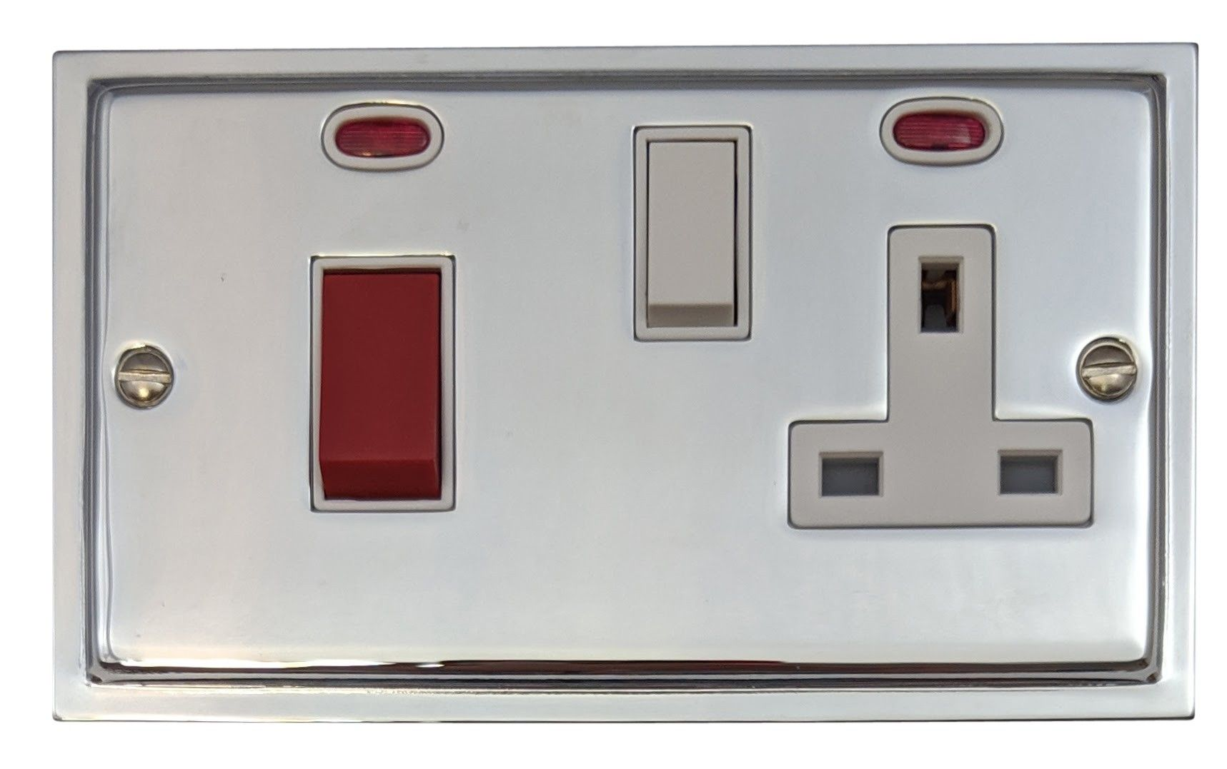 G&H HC29W Highline Plate Polished Chrome 45 Amp DP Cooker Switch & 13A Switched Socket