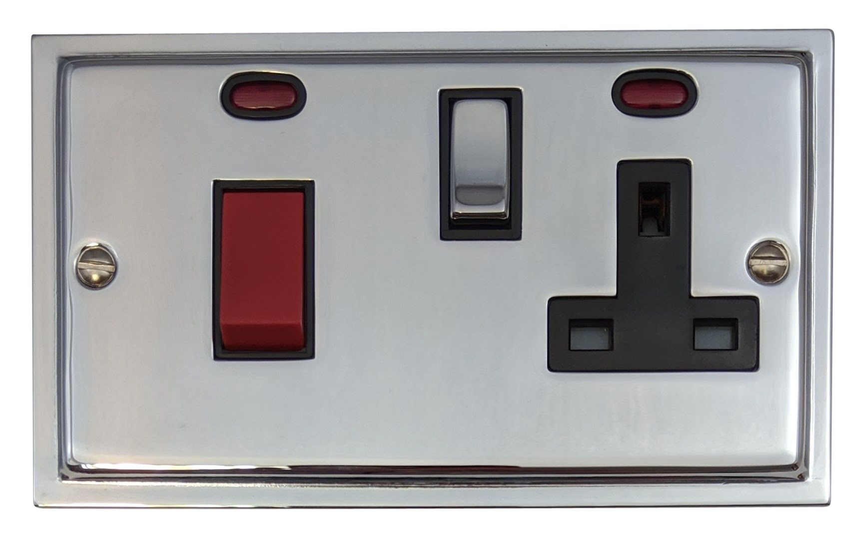 G&H HC329 Highline Plate Polished Chrome 45 Amp DP Cooker Switch & 13A Switched Socket