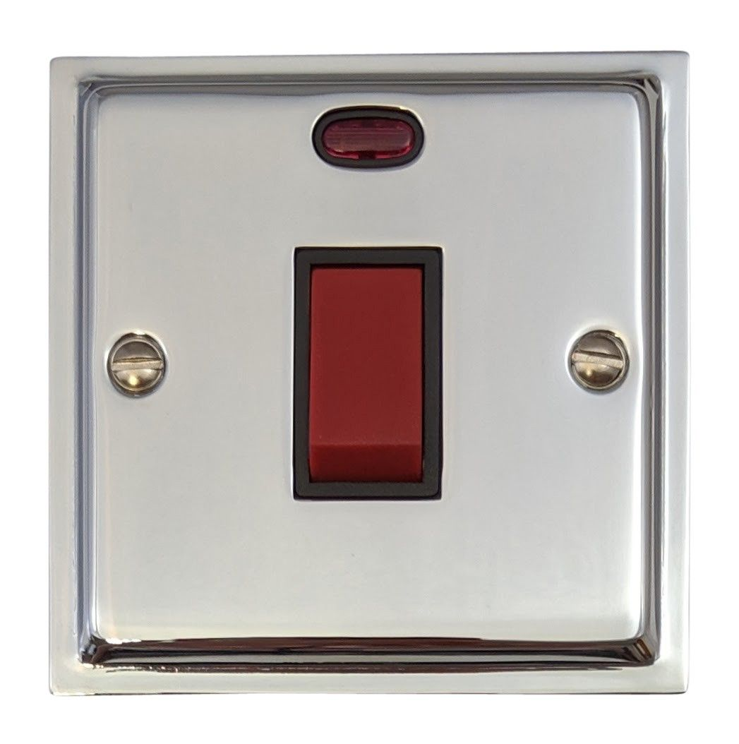 G&H HC46B Highline Plate Polished Chrome 45 Amp DP Cooker Switch & Neon Single Plate