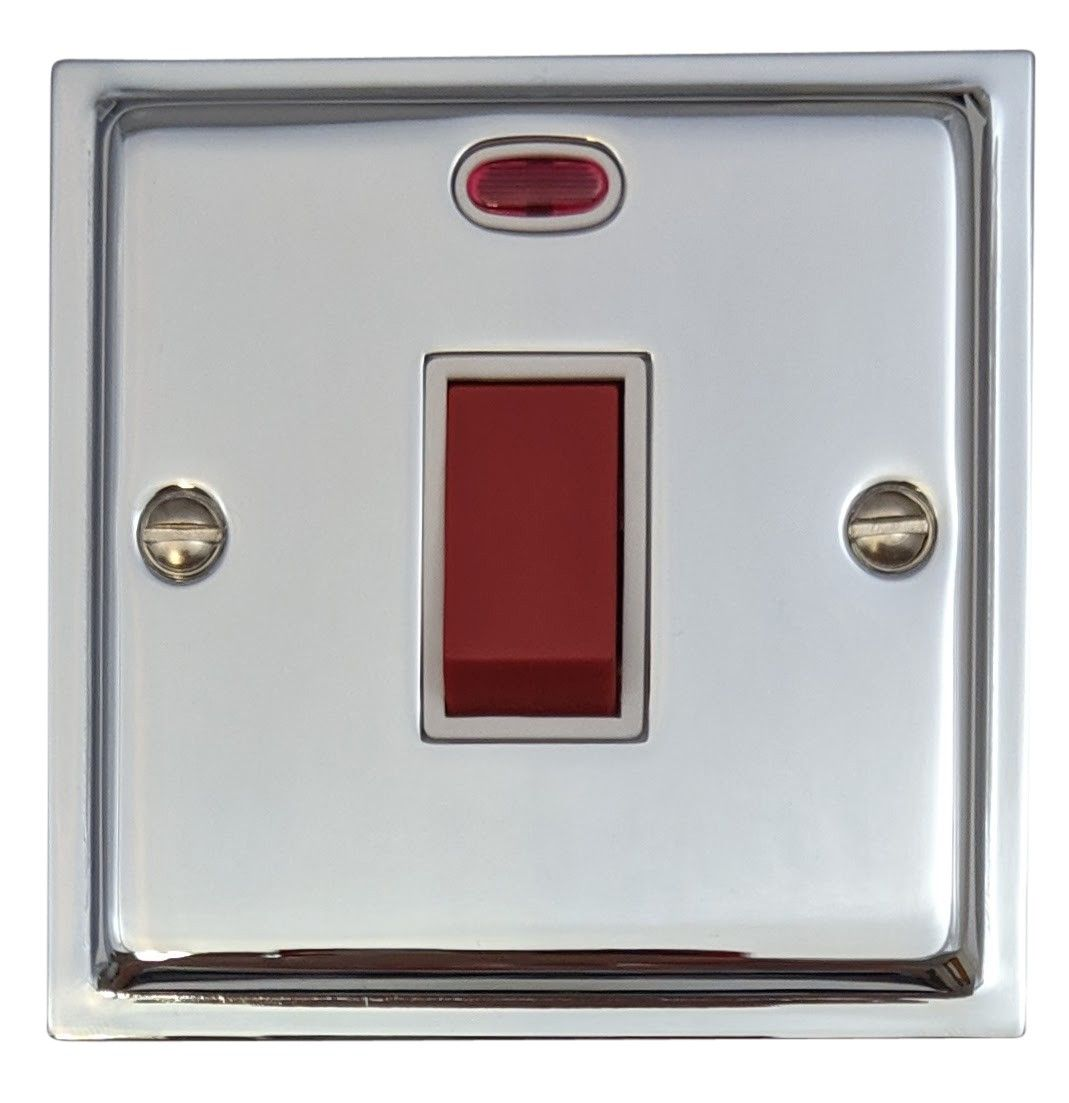 G&H HC46W Highline Plate Polished Chrome 45 Amp DP Cooker Switch & Neon Single Plate