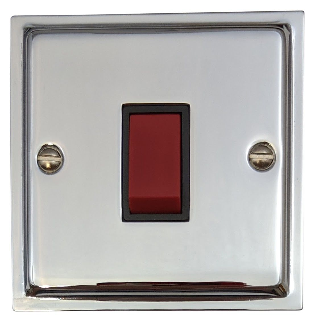 G&H HC47B Highline Plate Polished Chrome 45 Amp DP Cooker Switch Single Plate