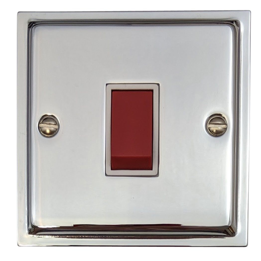 G&H HC47W Highline Plate Polished Chrome 45 Amp DP Cooker Switch Single Plate