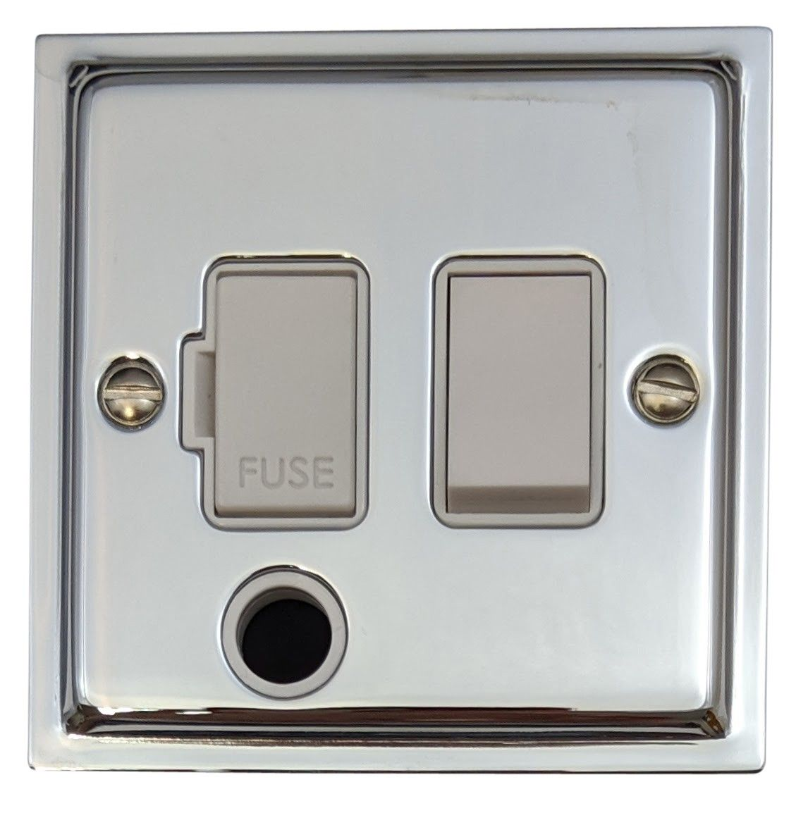 G&H HC56W Highline Plate Polished Chrome 1 Gang Fused Spur 13A Switched & Flex Outlet
