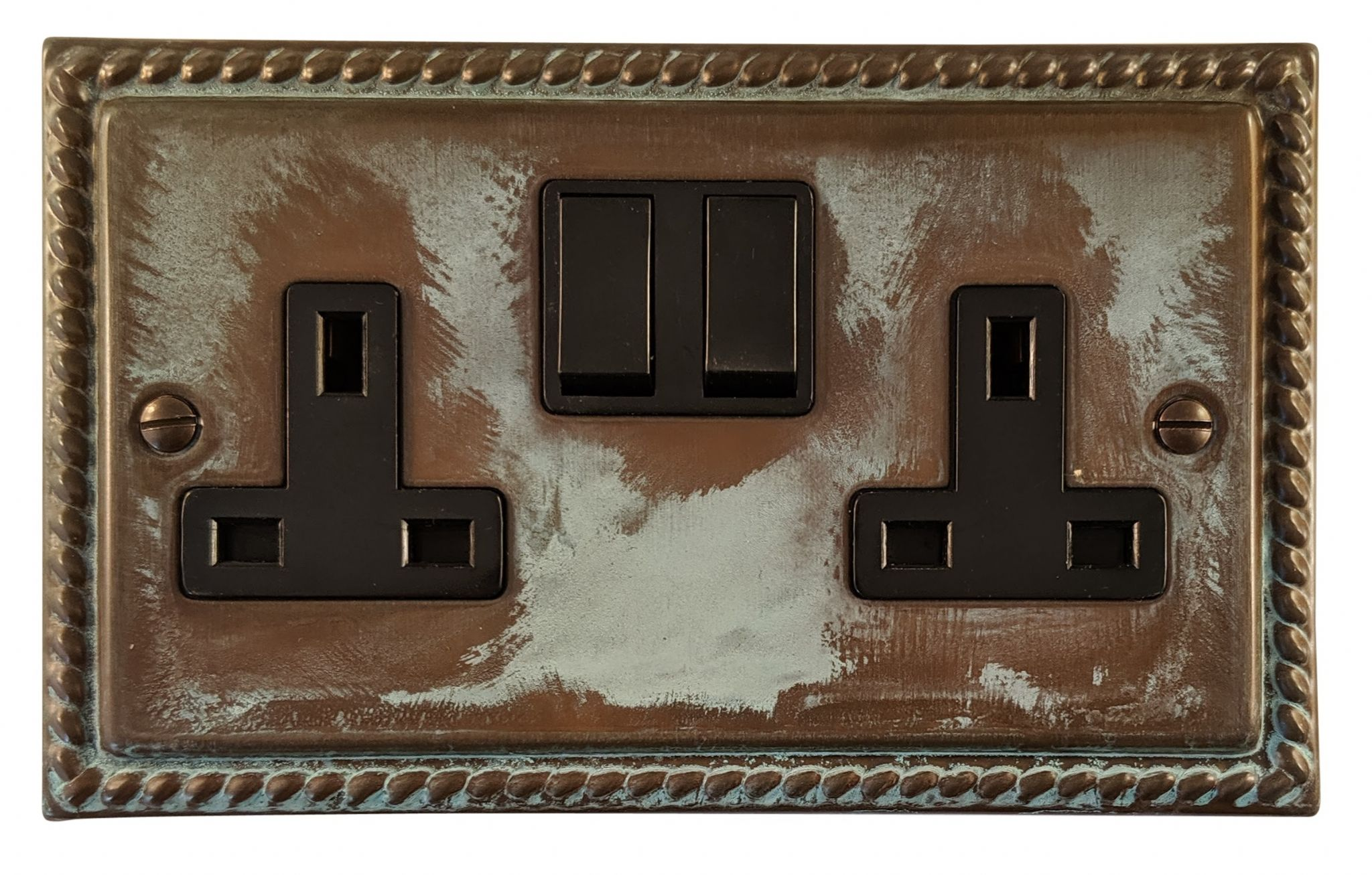 G&H MV10B Monarch Roped Verdigris 2 Gang Double 13A Switched Plug Socket