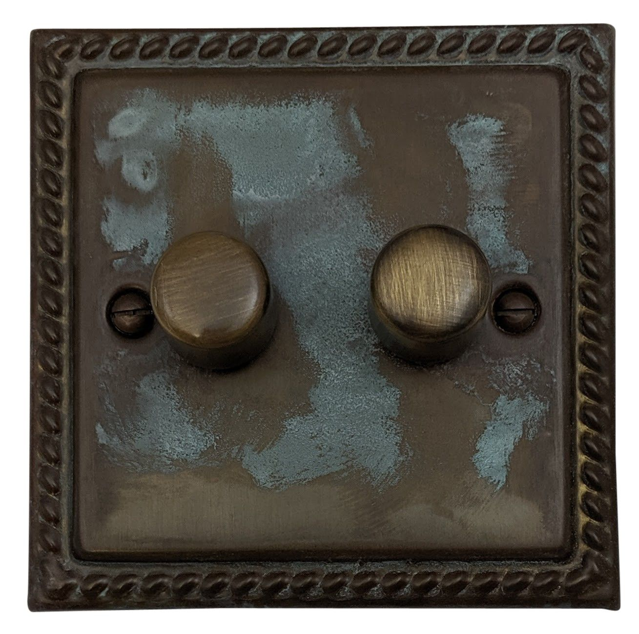 G&H MV12 Monarch Roped Verdigris 2 Gang 1 or 2 Way 40-400W Dimmer Switch