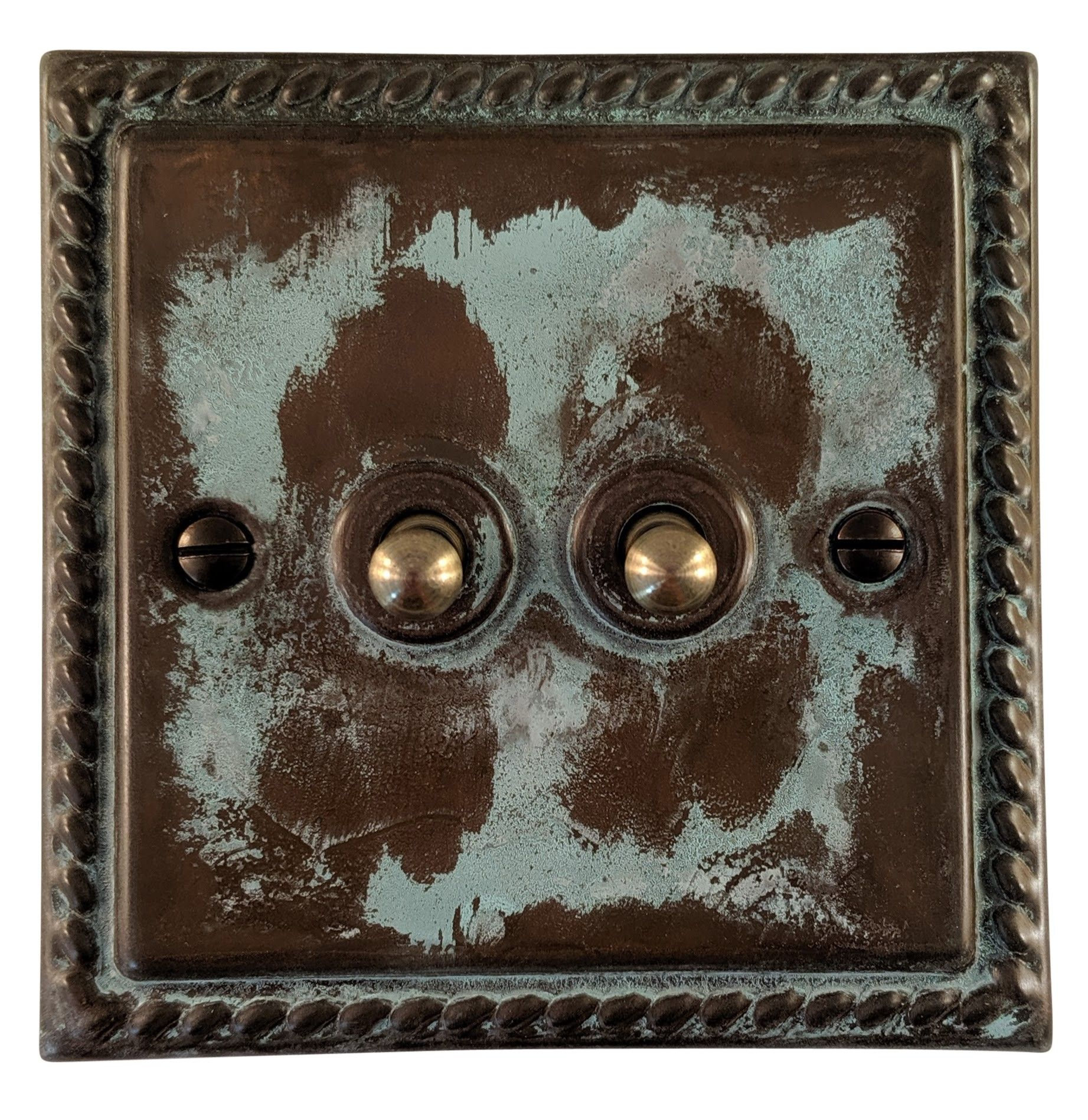 G&H MV282 Monarch Roped Verdigris 2 Gang 1 or 2 Way Toggle Light Switch