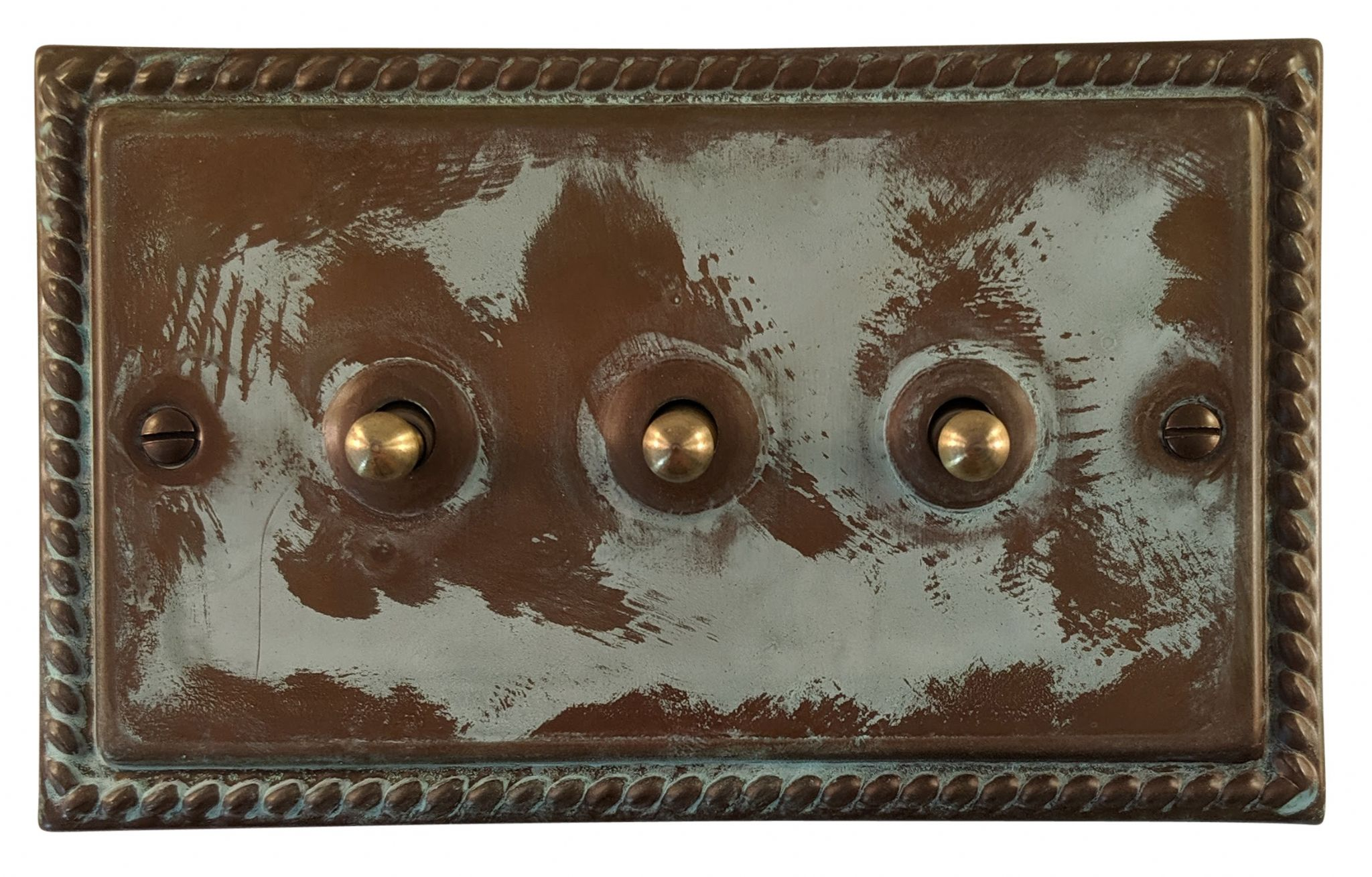 G&H MV283 Monarch Roped Verdigris 3 Gang 1 or 2 Way Toggle Light Switch