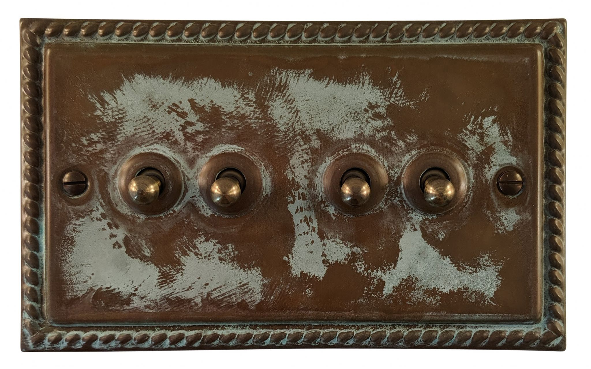 G&H MV284 Monarch Roped Verdigris 4 Gang 1 or 2 Way Toggle Light Switch