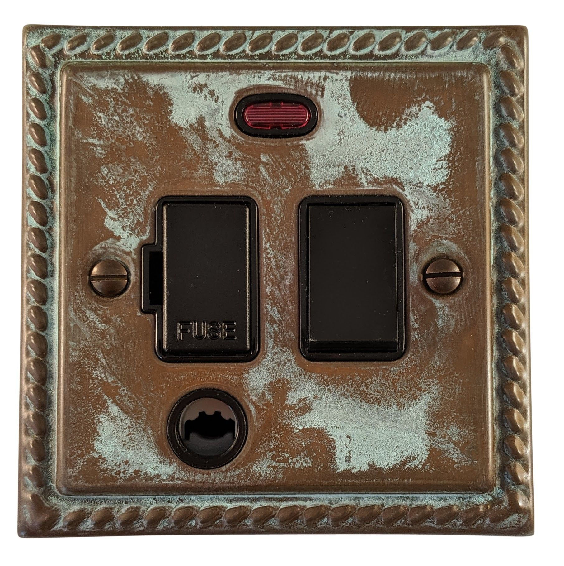 G&H MV77B Monarch Roped Verdigris 1 Gang Fused Spur 13A Switched & Flex Outlet & Neon