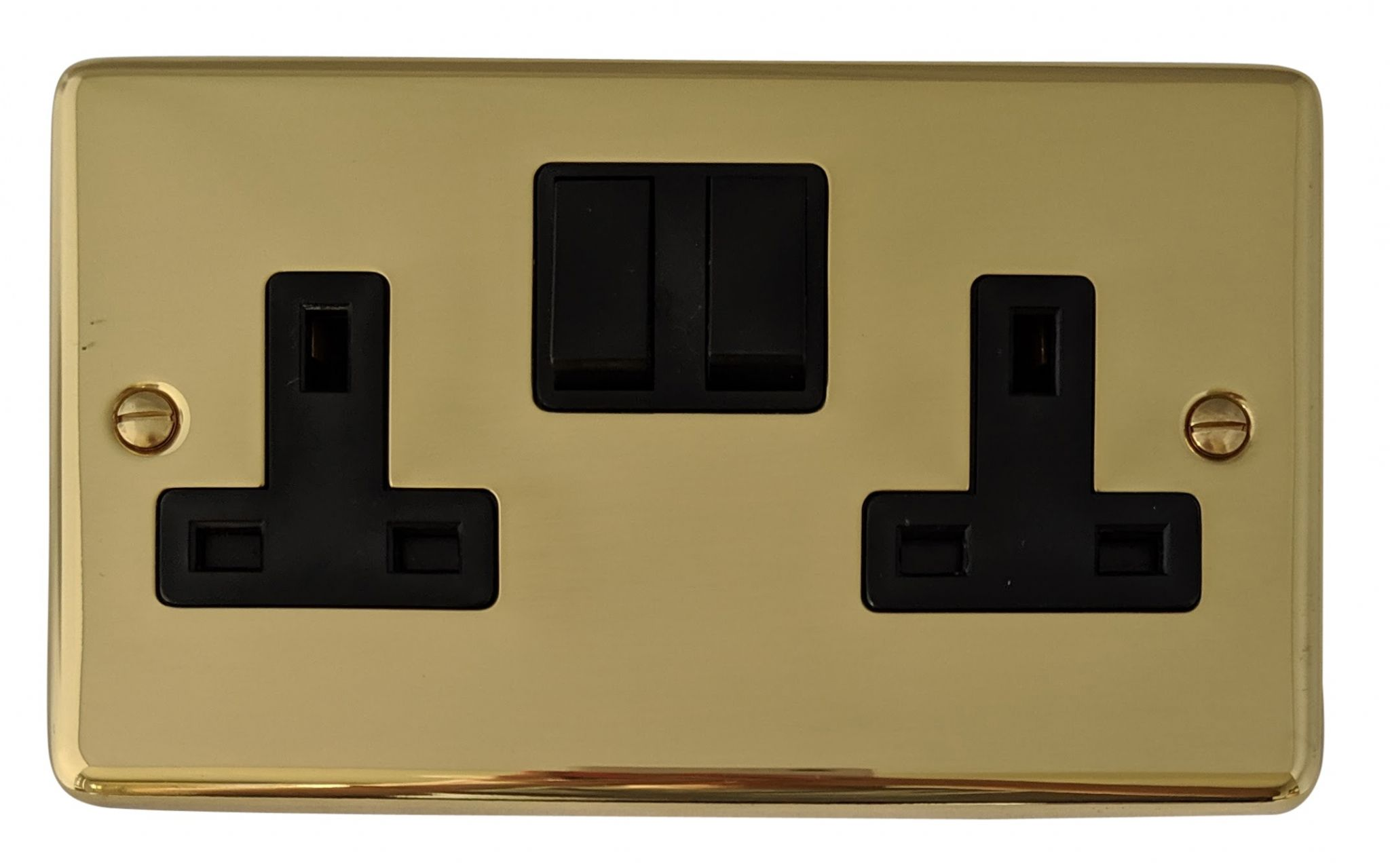 G&H CB10B Standard Plate Polished Brass 2 Gang Double 13A Switched Plug Socket