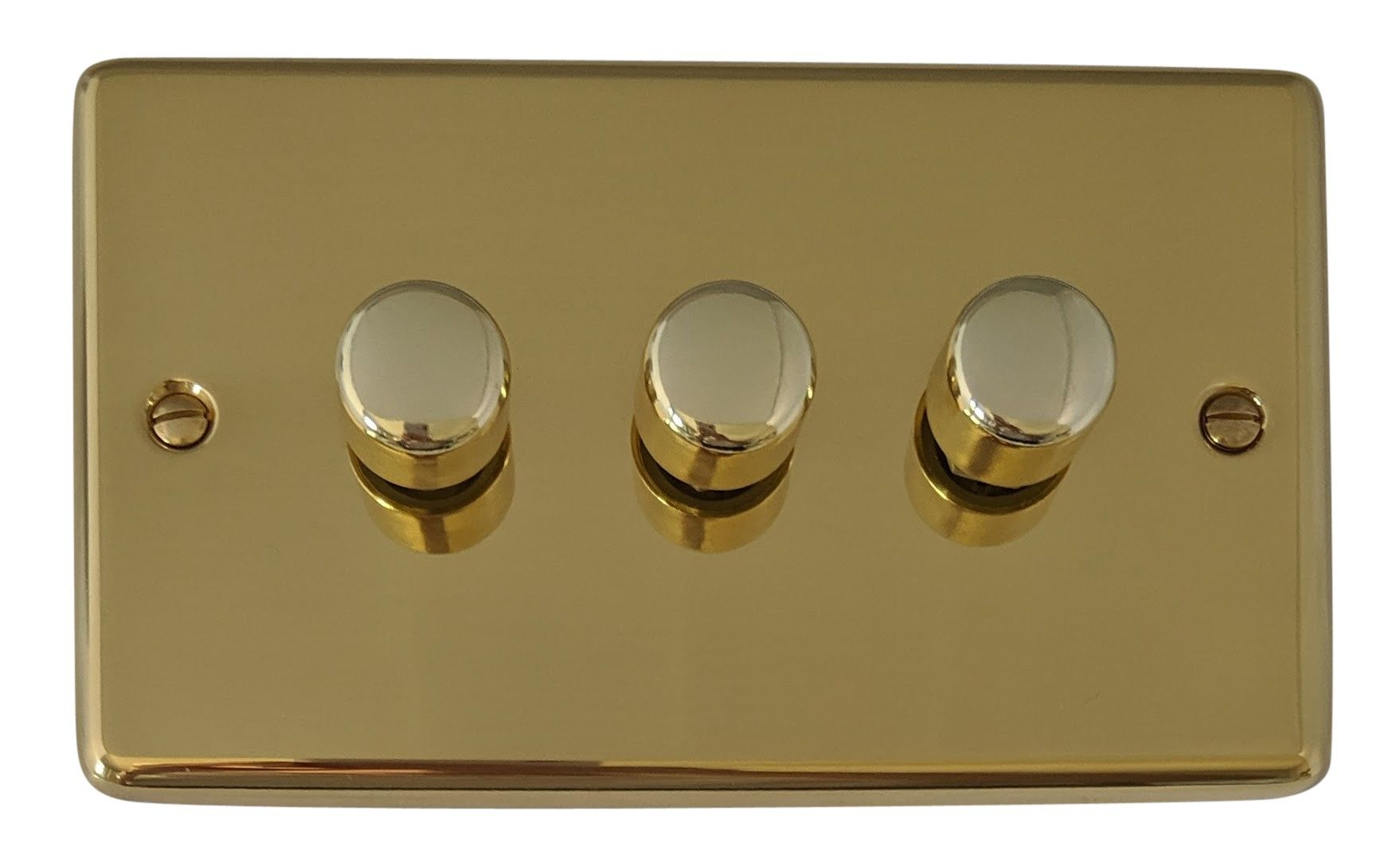 G&H CB13 Standard Plate Polished Brass 3 Gang 1 or 2 Way 40-400W Dimmer Switch
