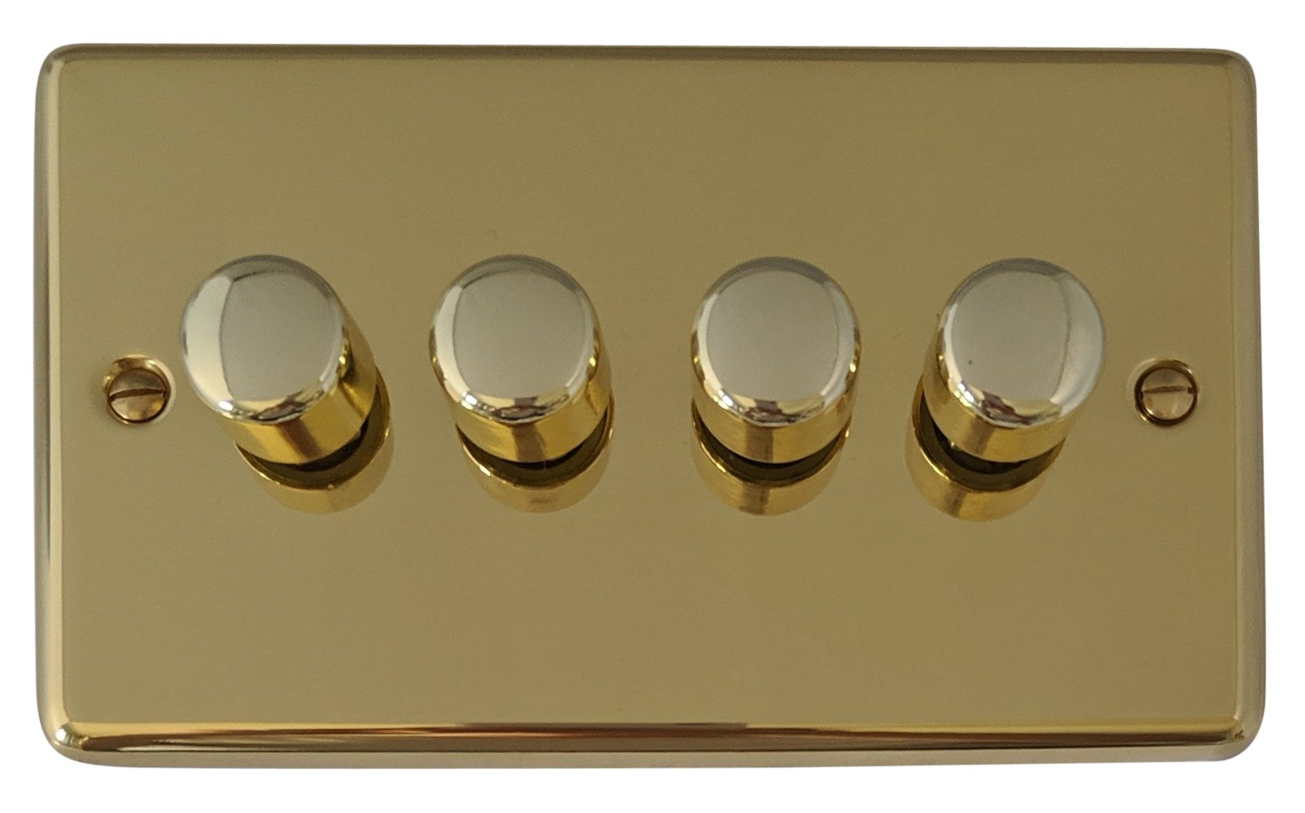 G&H CB14 Standard Plate Polished Brass 4 Gang 1 or 2 Way 40-400W Dimmer Switch