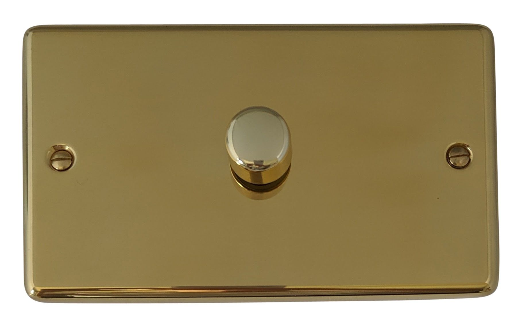 G&H CB16 Standard Plate Polished Brass 1 Gang 1 or 2 Way 700W Dimmer Switch Double Plate