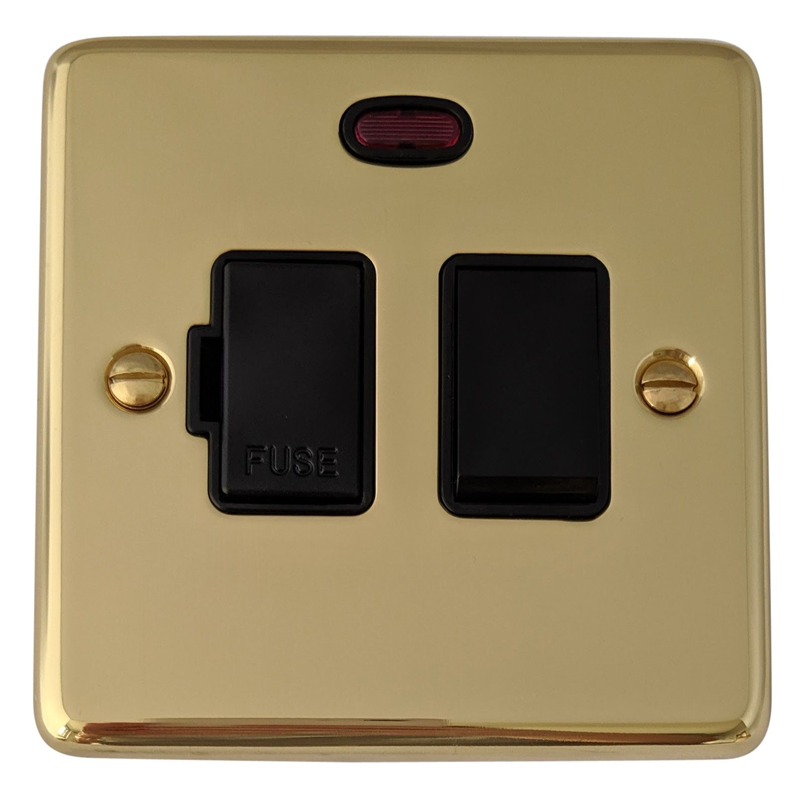 G&H CB27B Standard Plate Polished Brass 1 Gang Fused Spur 13A Switched & Neon