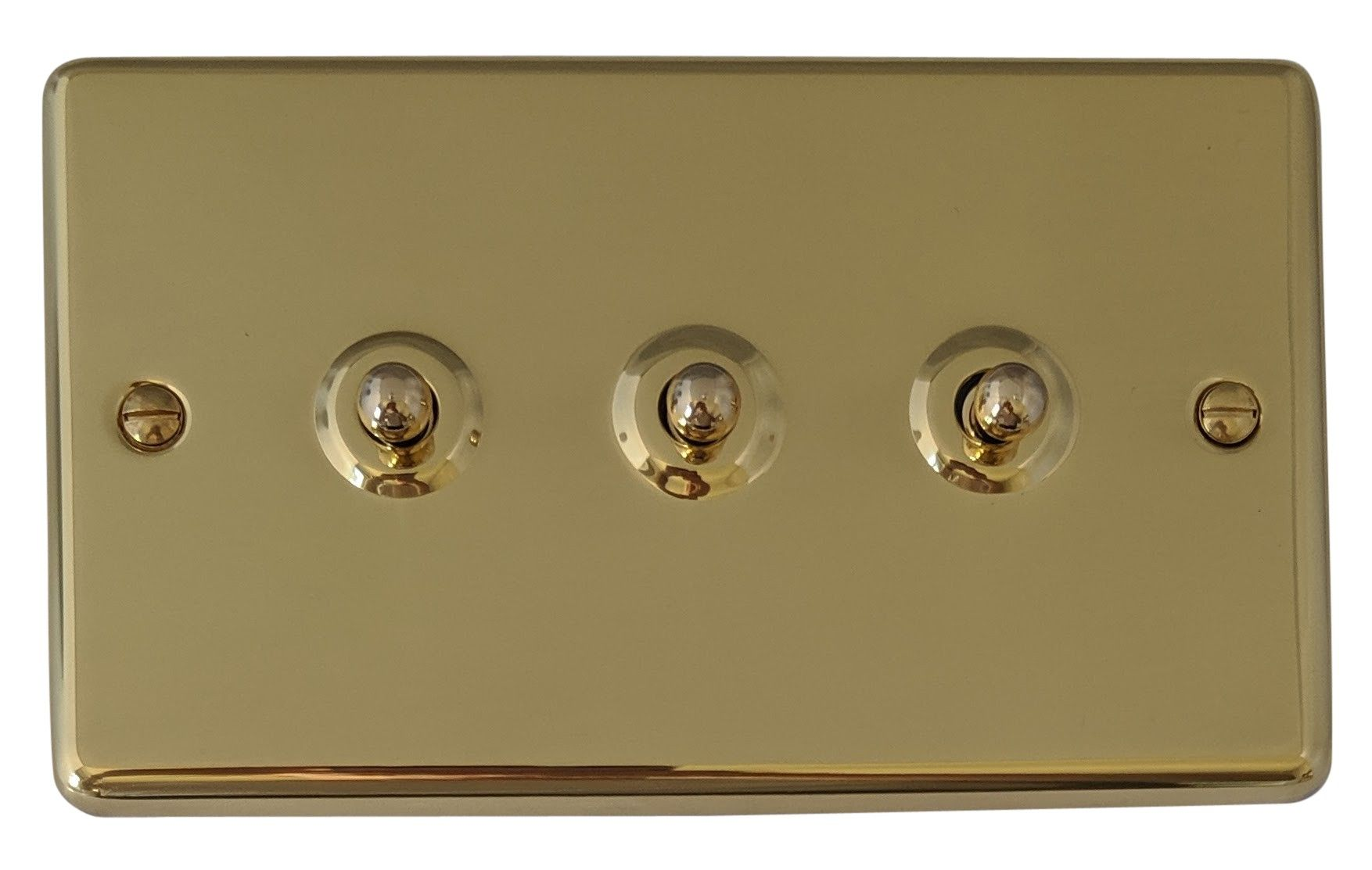 G&H CB283 Standard Plate Polished Brass 3 Gang 1 or 2 Way Toggle Light Switch