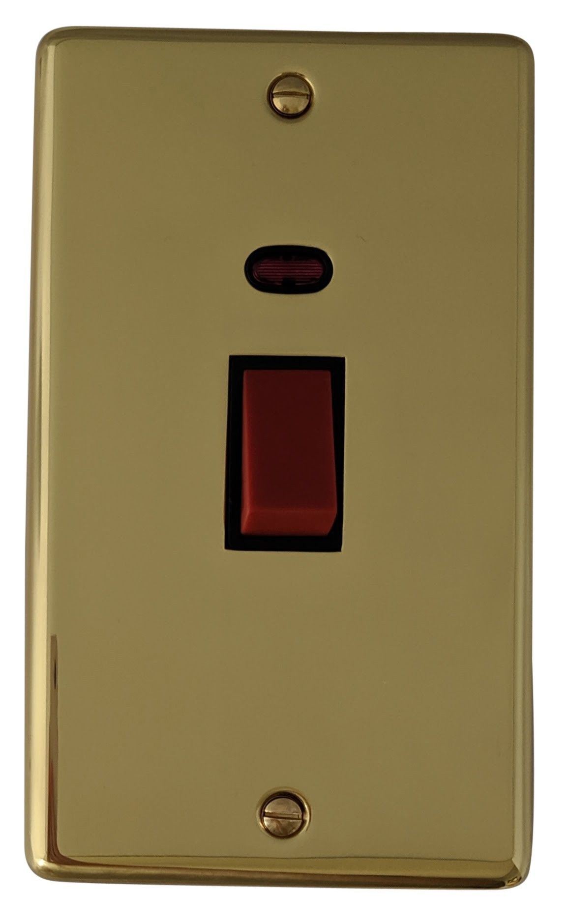 G&H CB28B Standard Plate Polished Brass 45 Amp DP Cooker Switch & Neon Vertical Plate