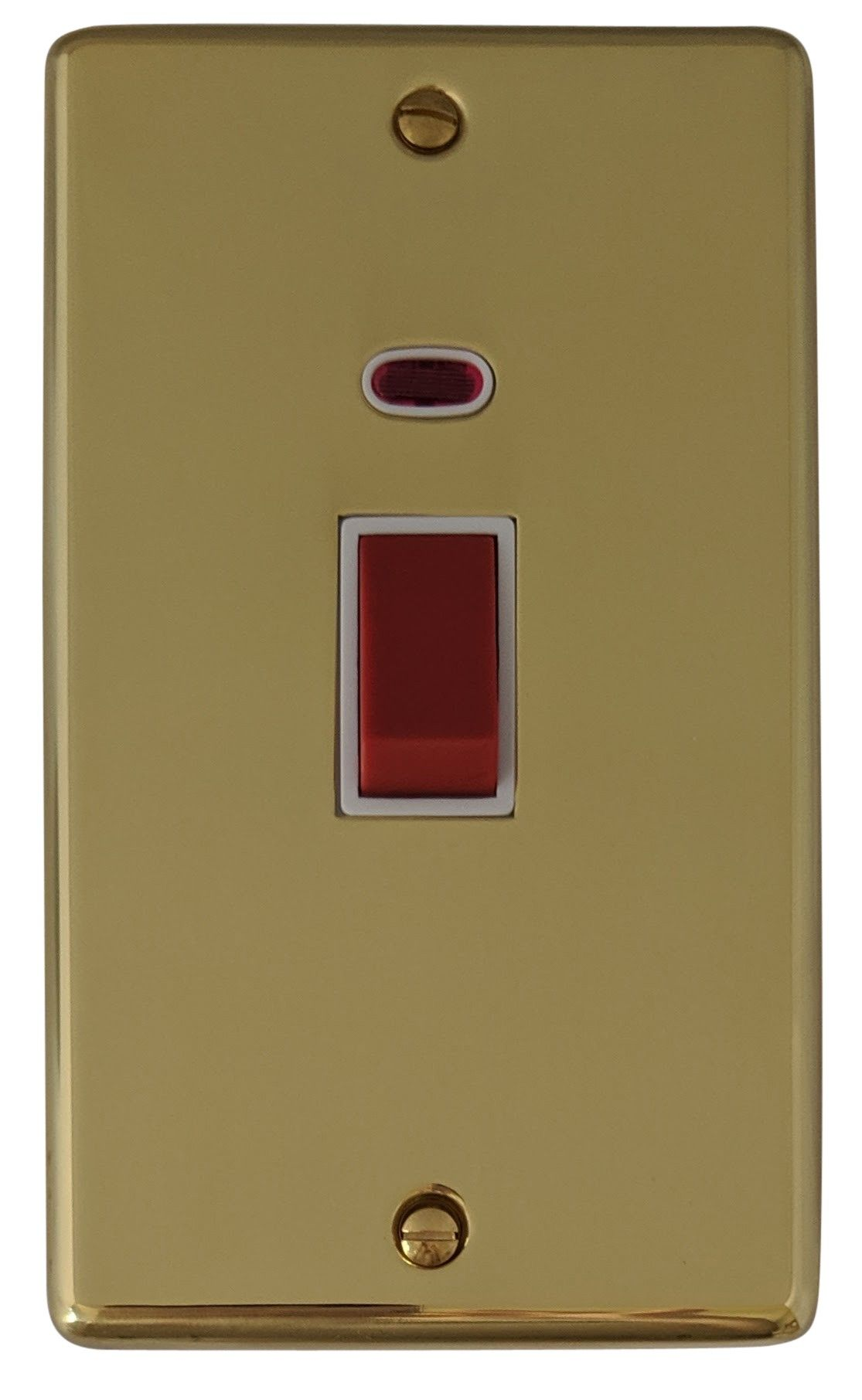G&H CB28W Standard Plate Polished Brass 45 Amp DP Cooker Switch & Neon Vertical Plate
