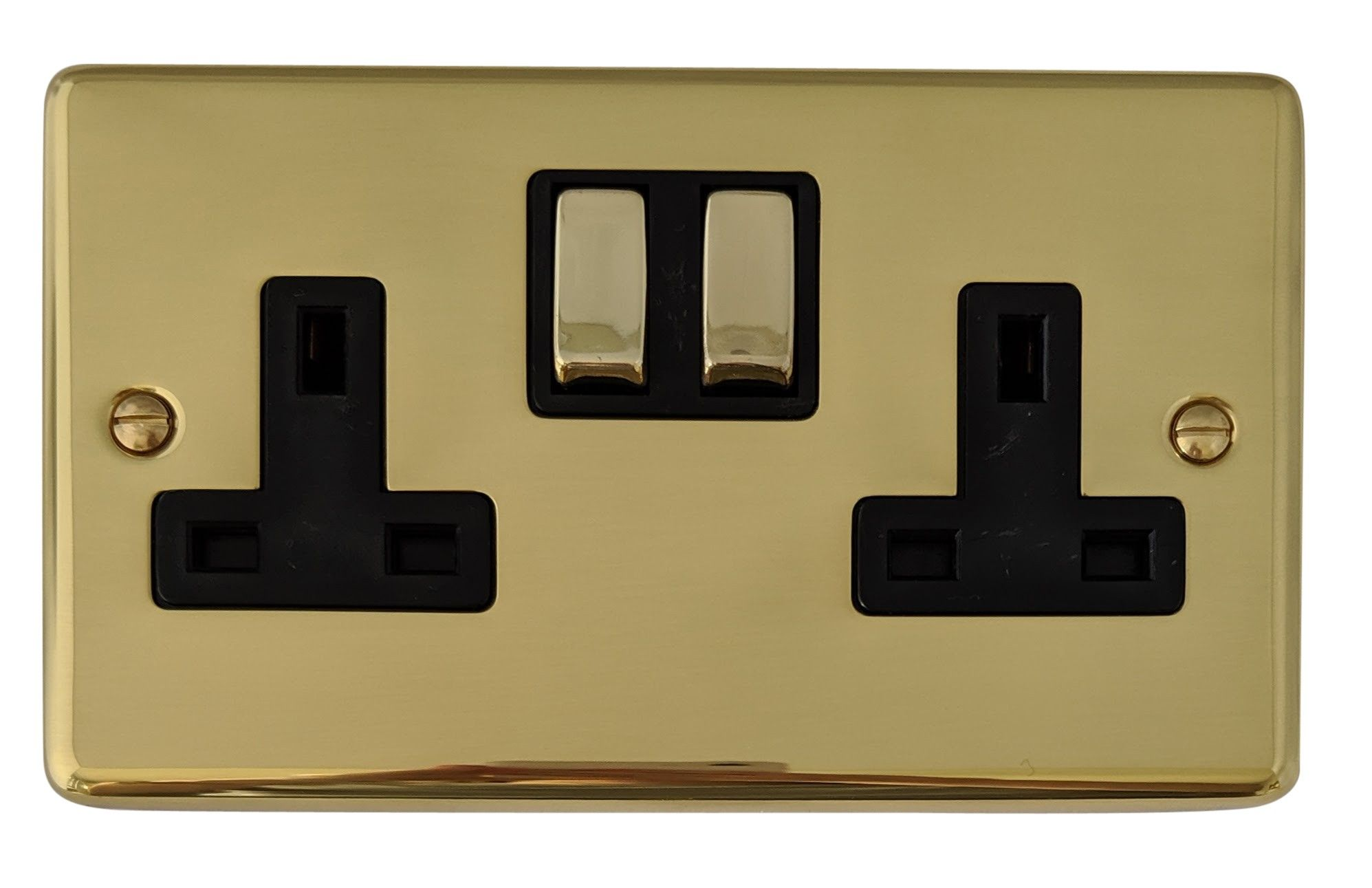 G&H CB310 Standard Plate Polished Brass 2 Gang Double 13A Switched Plug Socket