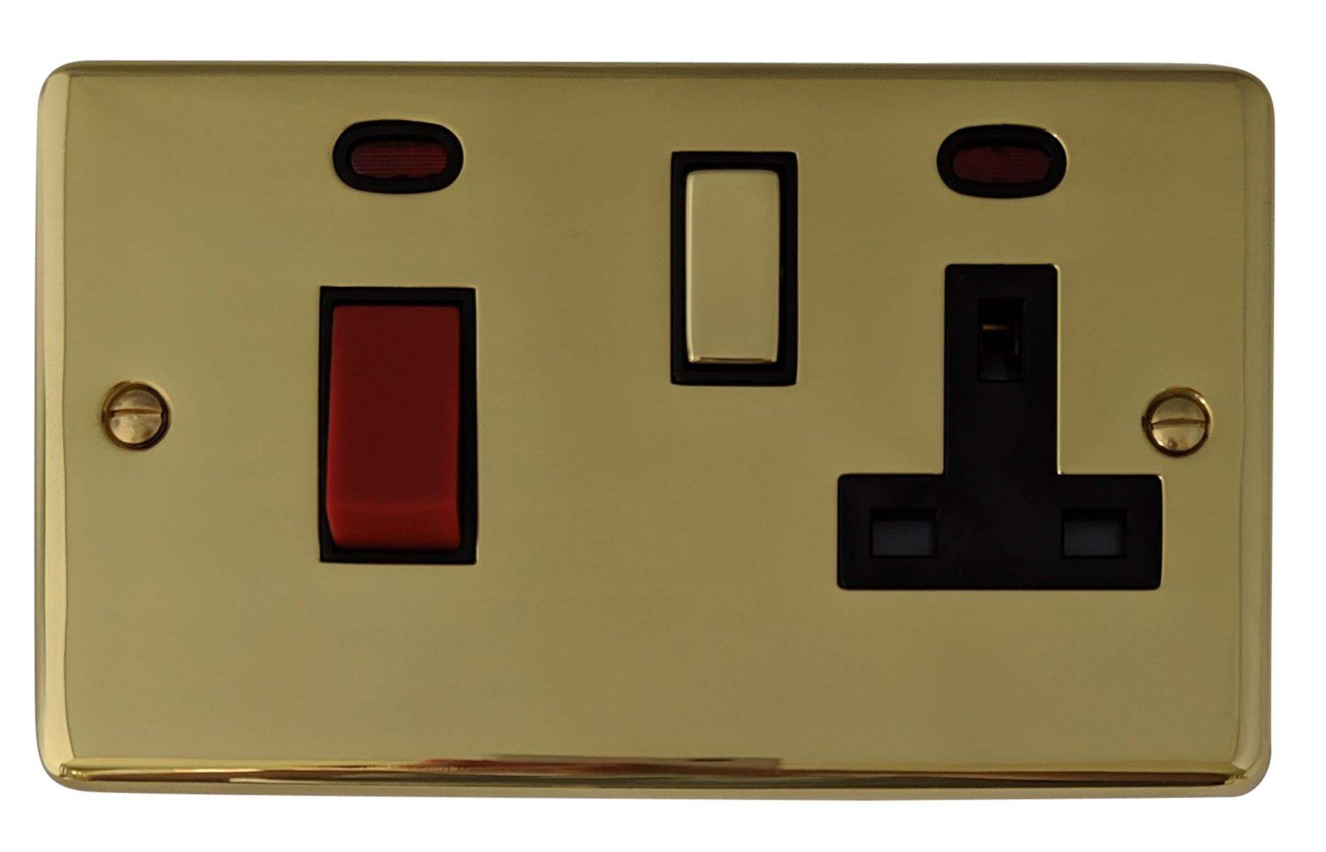 G&H CB329 Standard Plate Polished Brass 45 Amp DP Cooker Switch & 13A Switched Socket